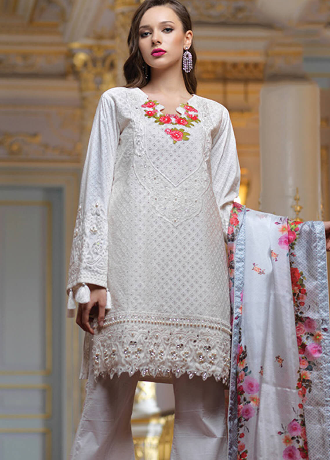 Mahiymaan By Al Zohaib Embroidered Lawn Unstitched 3 Piece Suit MAH19E 07 - Festive Collection
