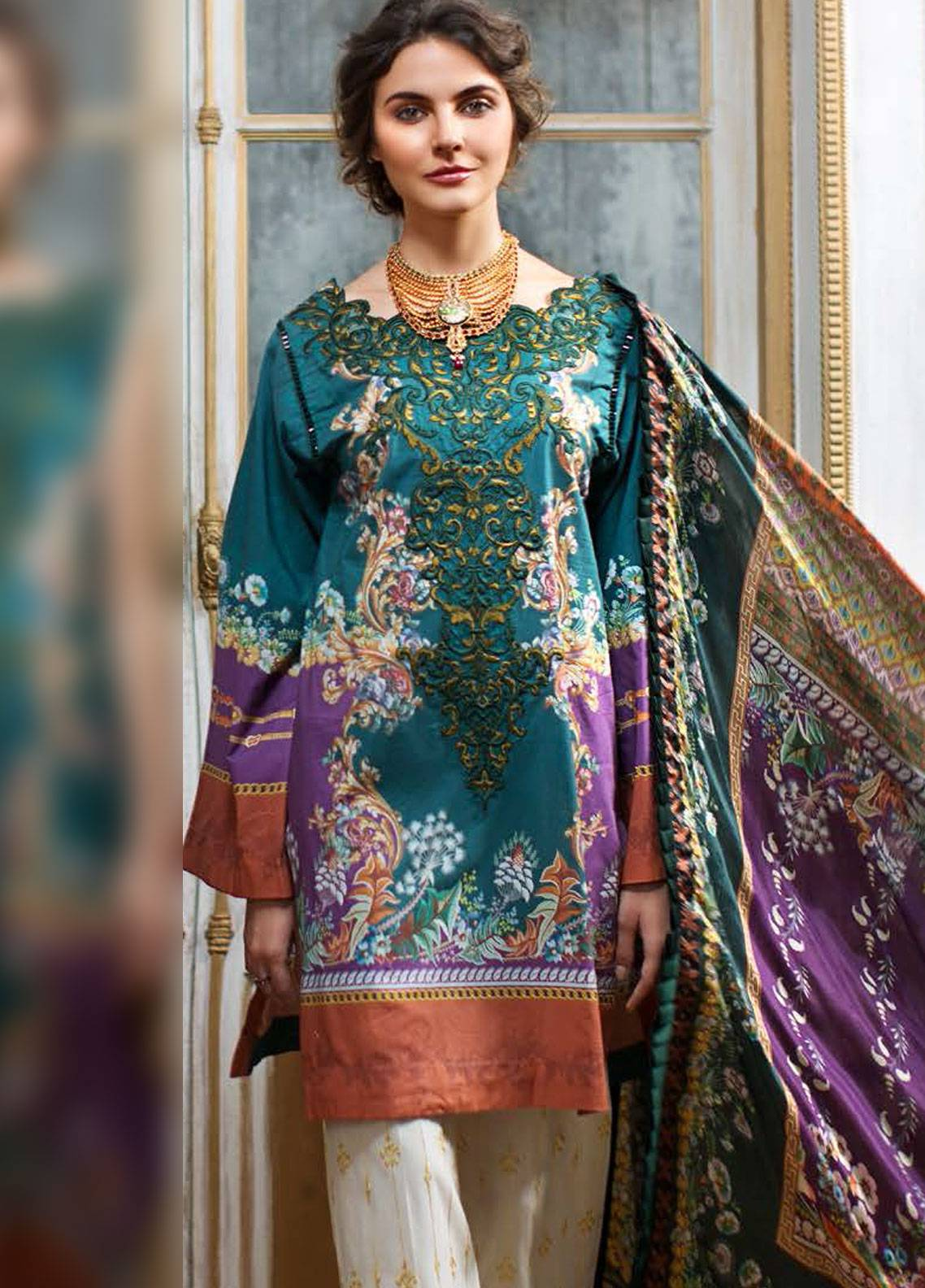 Mahpara Khan Embroidered Lawn Unstitched 3 Piece Suit MHP19L 08 - Spring / Summer Collection