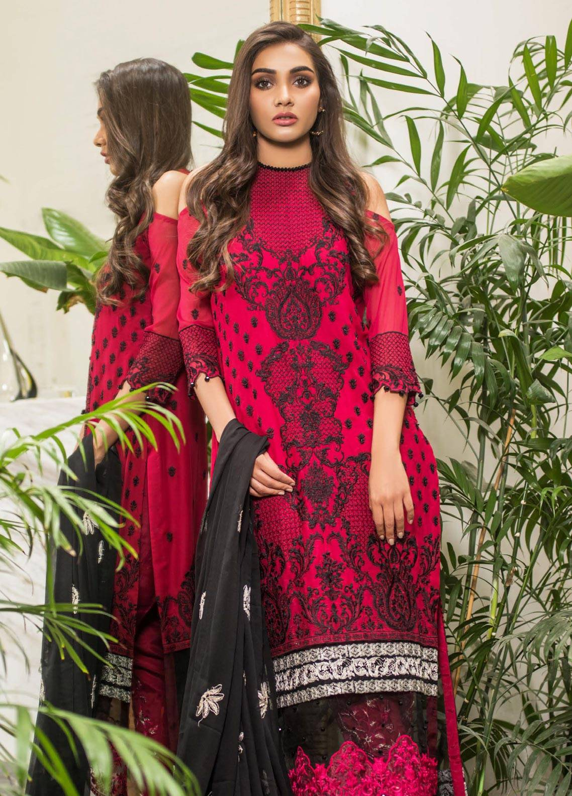 Mahrukh By ZS Embroidered Chiffon Unstitched 3 Piece Suit MHK18VC 01 - Luxury Collection