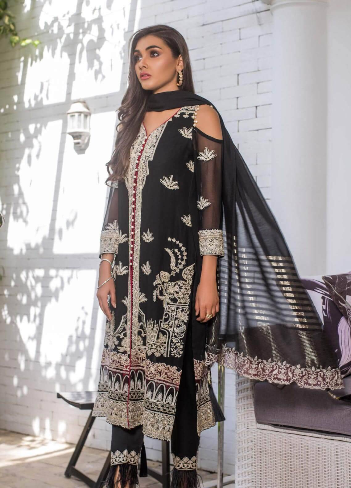 Mahrukh By ZS Embroidered Chiffon Unstitched 3 Piece Suit MHK18VC 04 - Luxury Collection