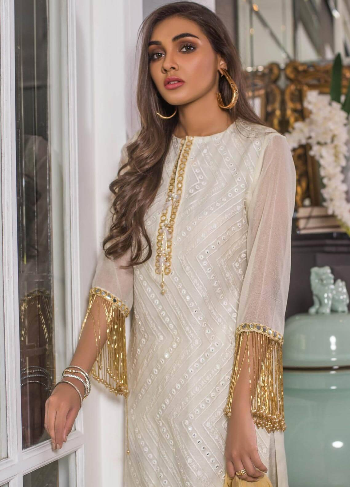 Mahrukh By ZS Embroidered Net Unstitched 3 Piece Suit MHK18VC 6A - Luxury Collection