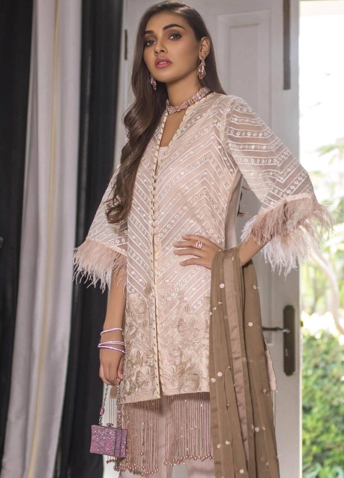 Mahrukh By ZS Embroidered Net Unstitched 3 Piece Suit MHK18VC 6B - Luxury Collection