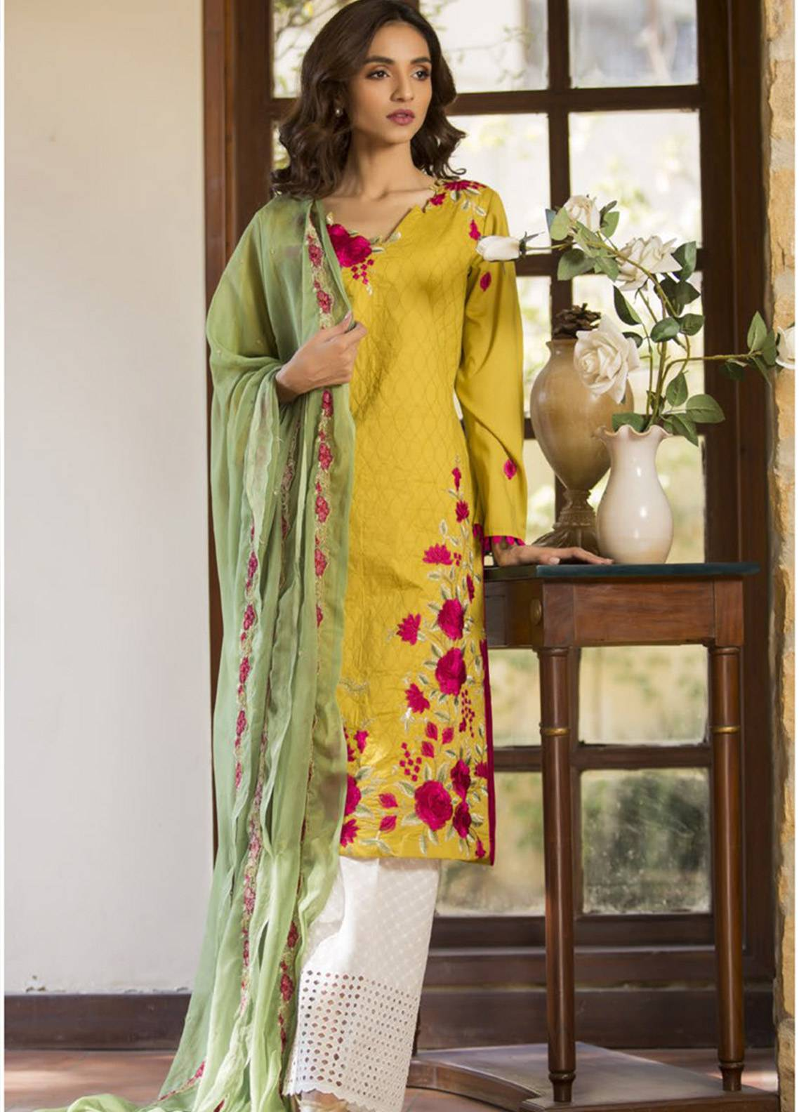 Maira Ahsan Embroidered Cotton Net Unstitched 3 Piece Suit MA19DE 01 - Designer Collection
