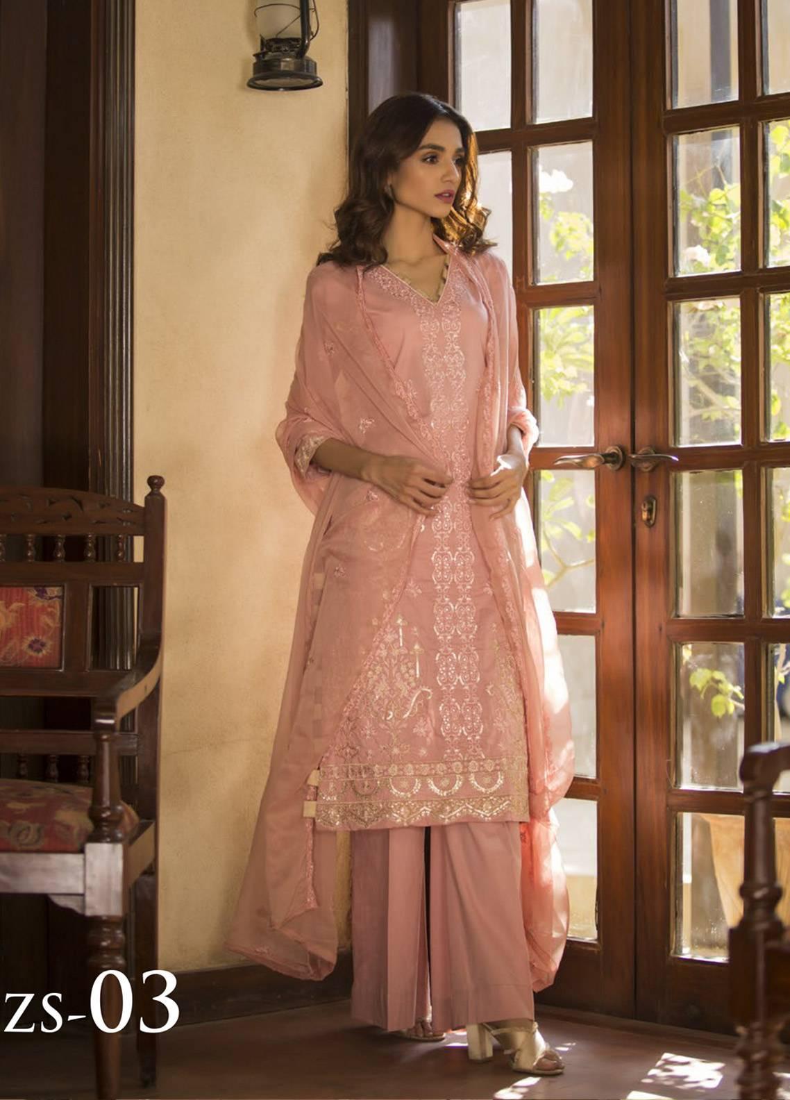 Maira Ahsan Embroidered Cotton Net Unstitched 3 Piece Suit MA19DE 03 - Designer Collection