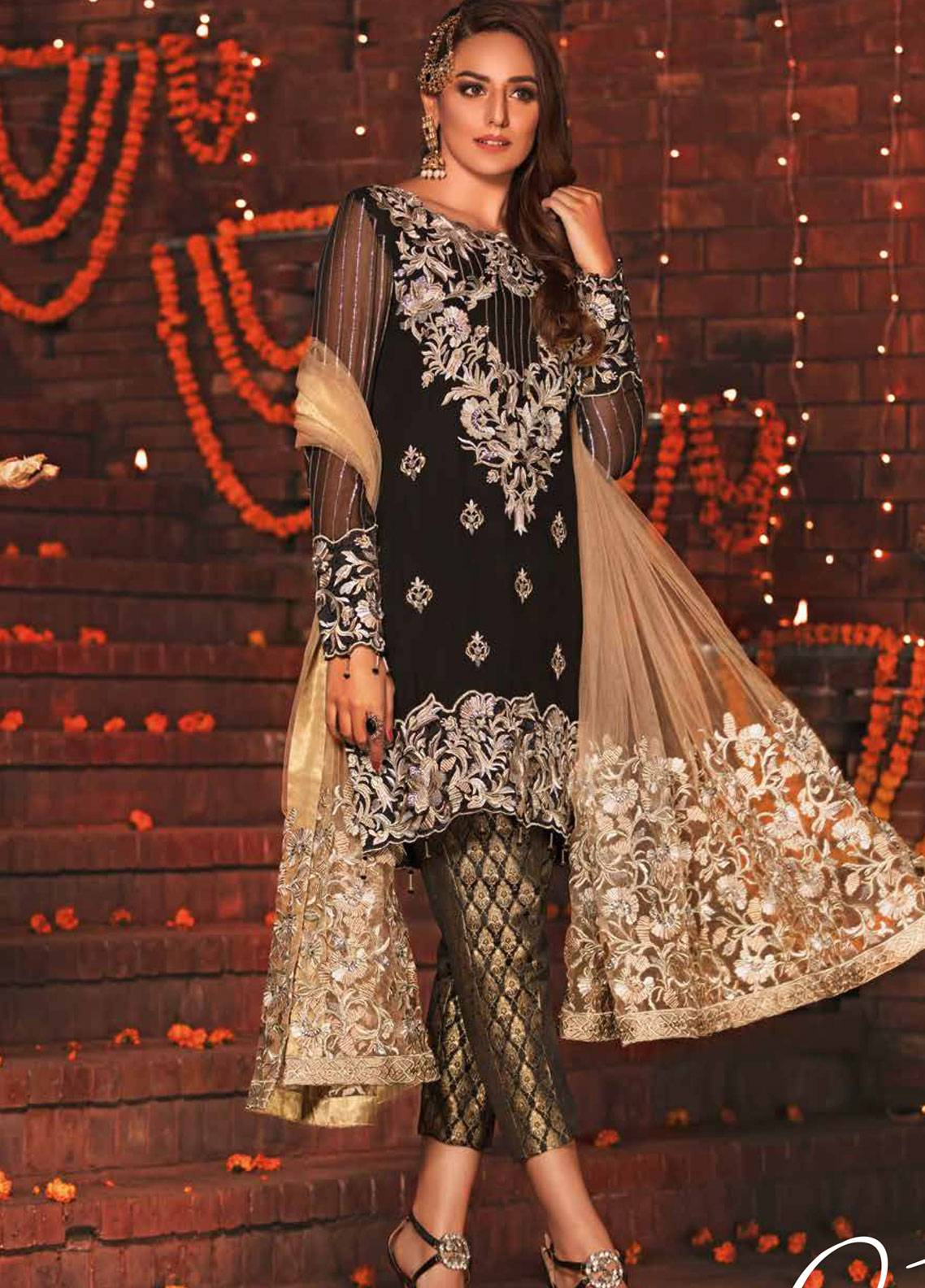 EmbRoyal Embroidered Chiffon Unstitched 3 Piece Suit EMB19DK 01 Gleaming Black - Dewan-e-Khas