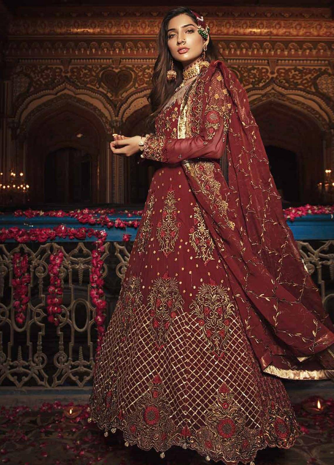 Majestic By Embroyal Embroidered Georgette Unstitched 3 Piece Suit MJE18W 06 - Wedding Collection