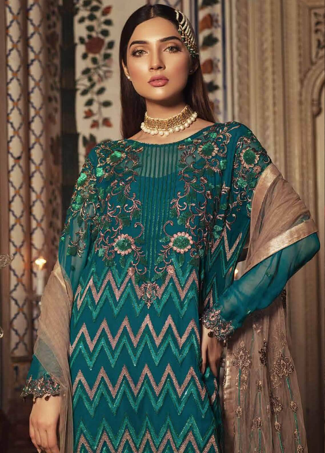 Majestic By Embroyal Embroidered Chiffon Unstitched 3 Piece Suit MJE18W 09 - Wedding Collection