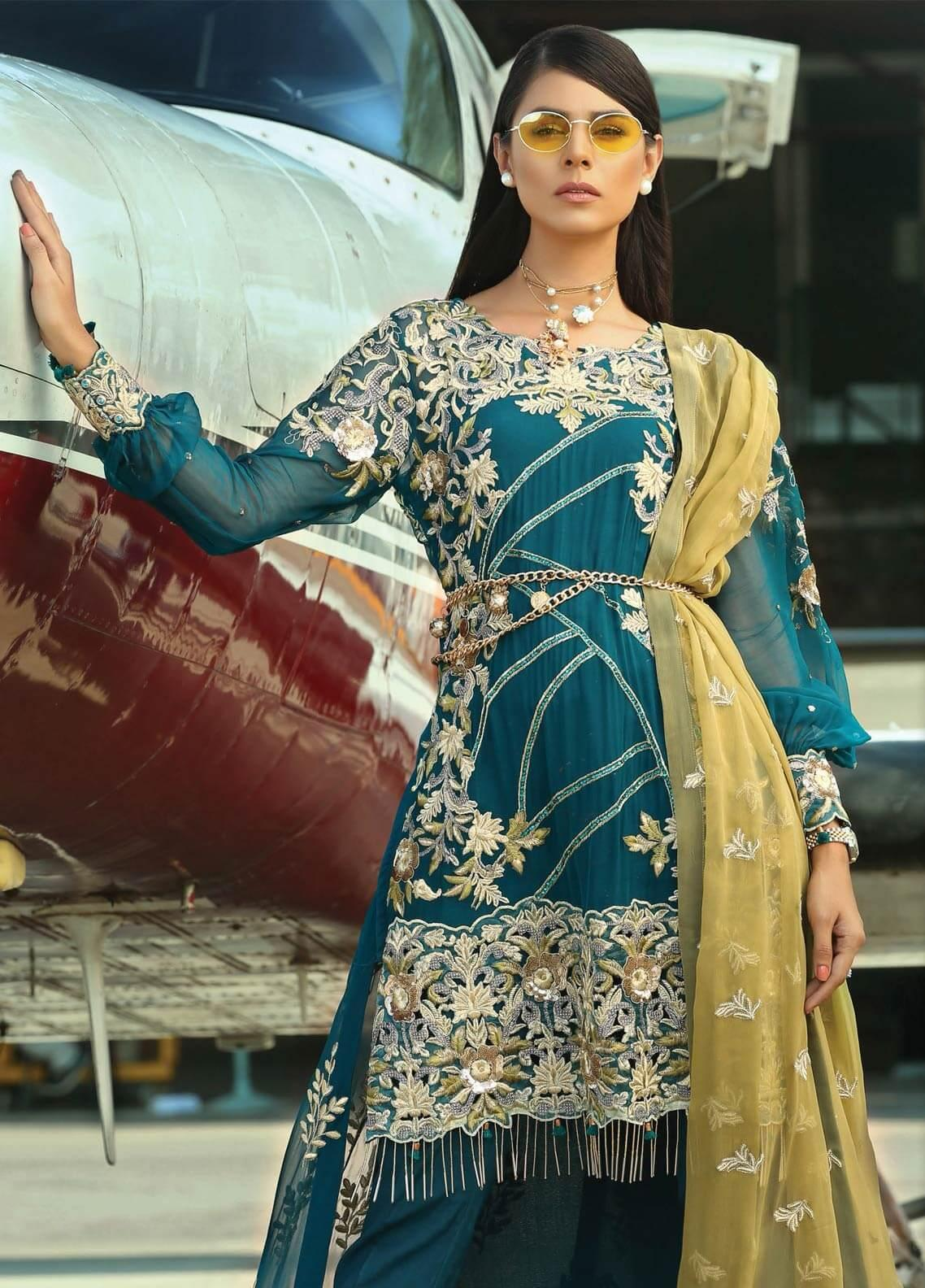 Majestic By EmbRoyal Embroidered Chiffon Unstitched 3 Piece Suit EMB19EE 02 TURQUOISE ECSTASY - Luxury Collection