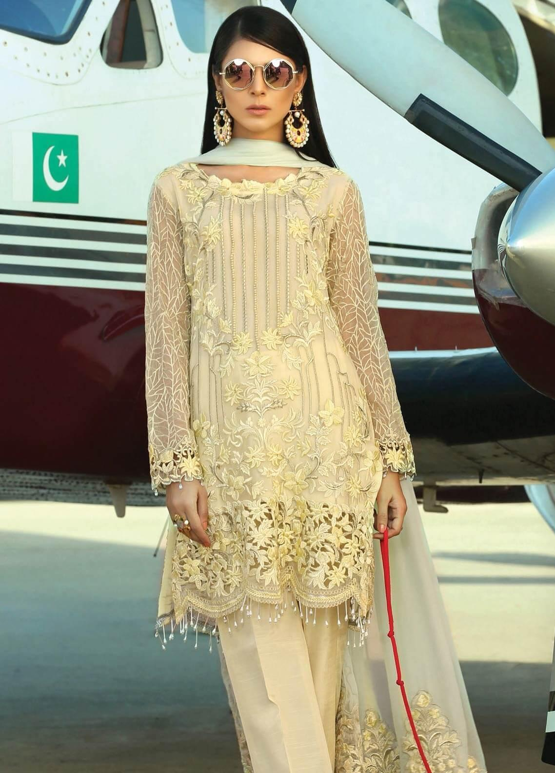 Majestic By EmbRoyal Embroidered Chiffon Unstitched 3 Piece Suit EMB19EE 05 POSH LIME - Luxury Collection