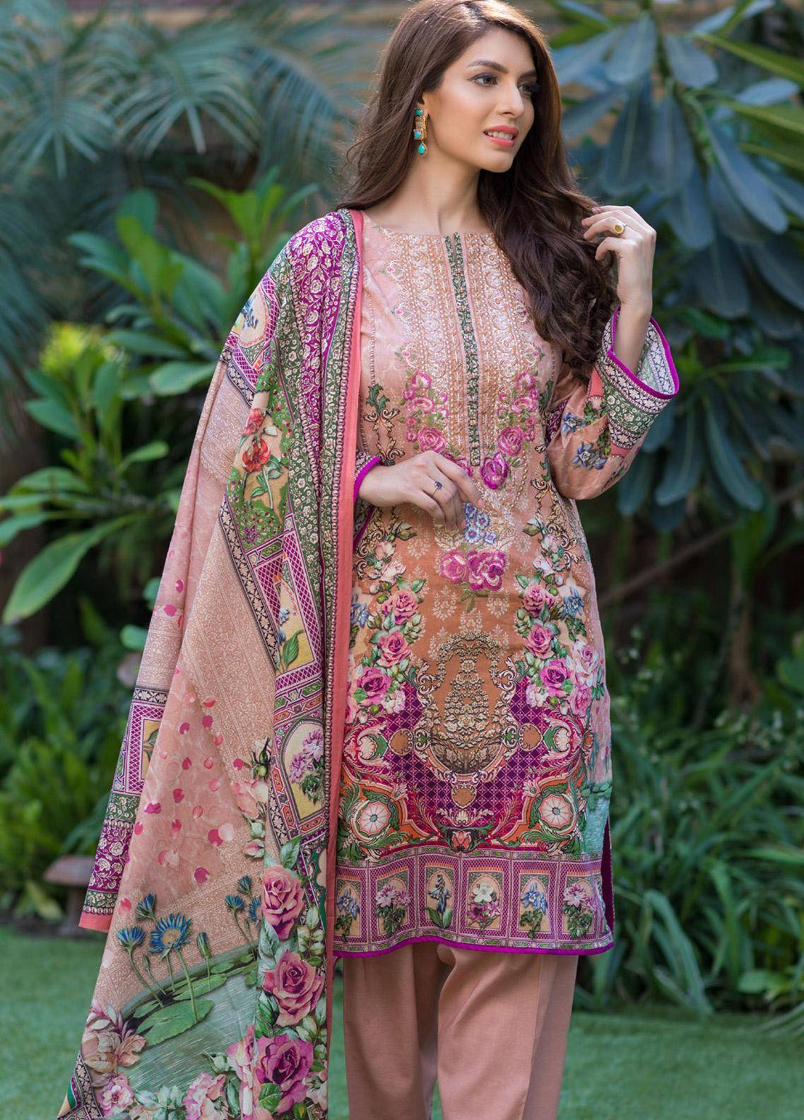 Malhar Embroidered Lawn Unstitched 3 Piece Suit ML19F 1A - Festive Collection