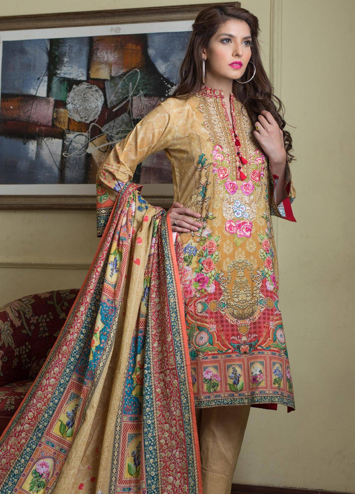 Malhar Embroidered Lawn Unstitched 3 Piece Suit ML19F 1B - Festive Collection