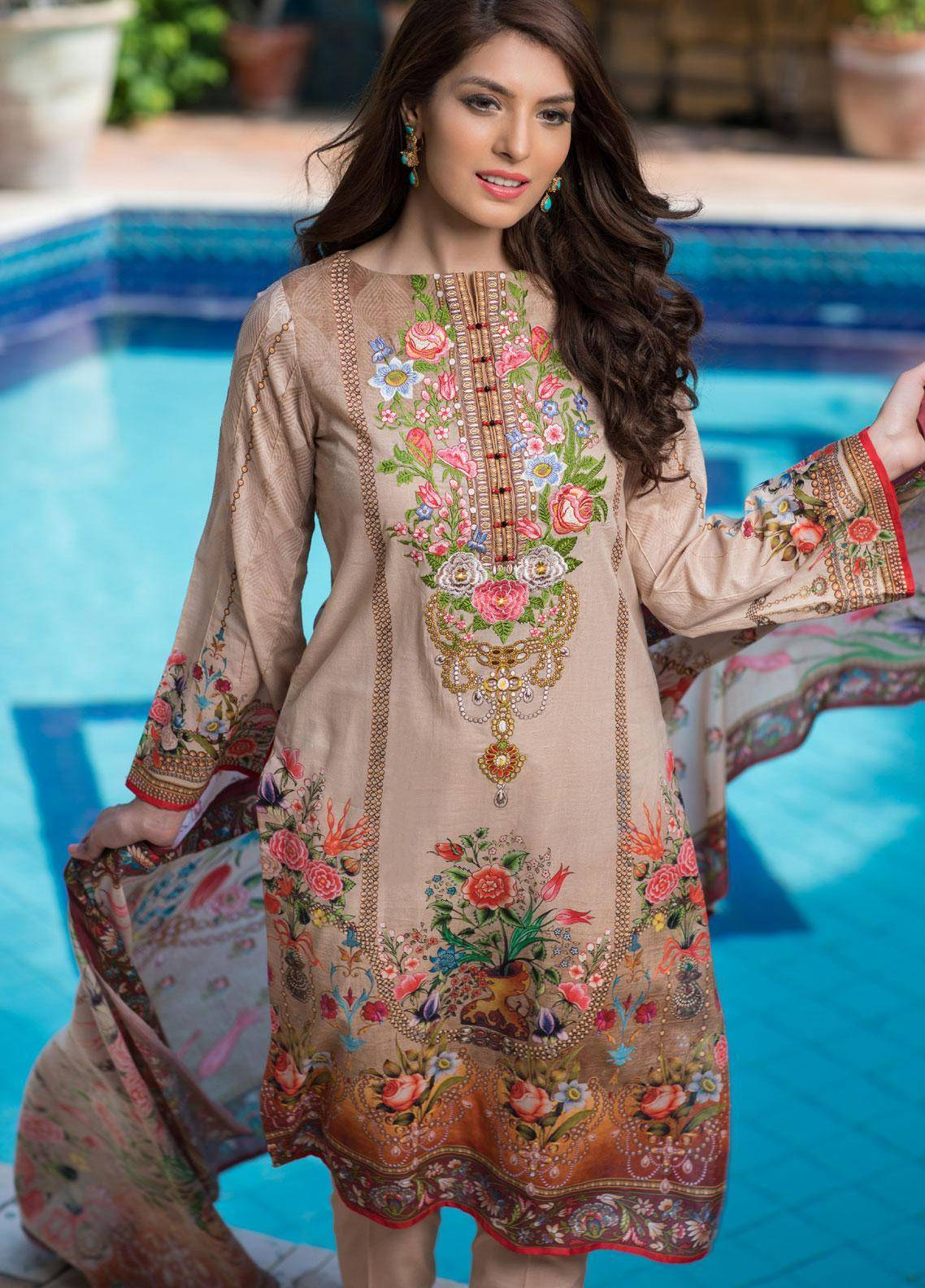 Malhar Embroidered Lawn Unstitched 3 Piece Suit ML19F 2B - Festive Collection