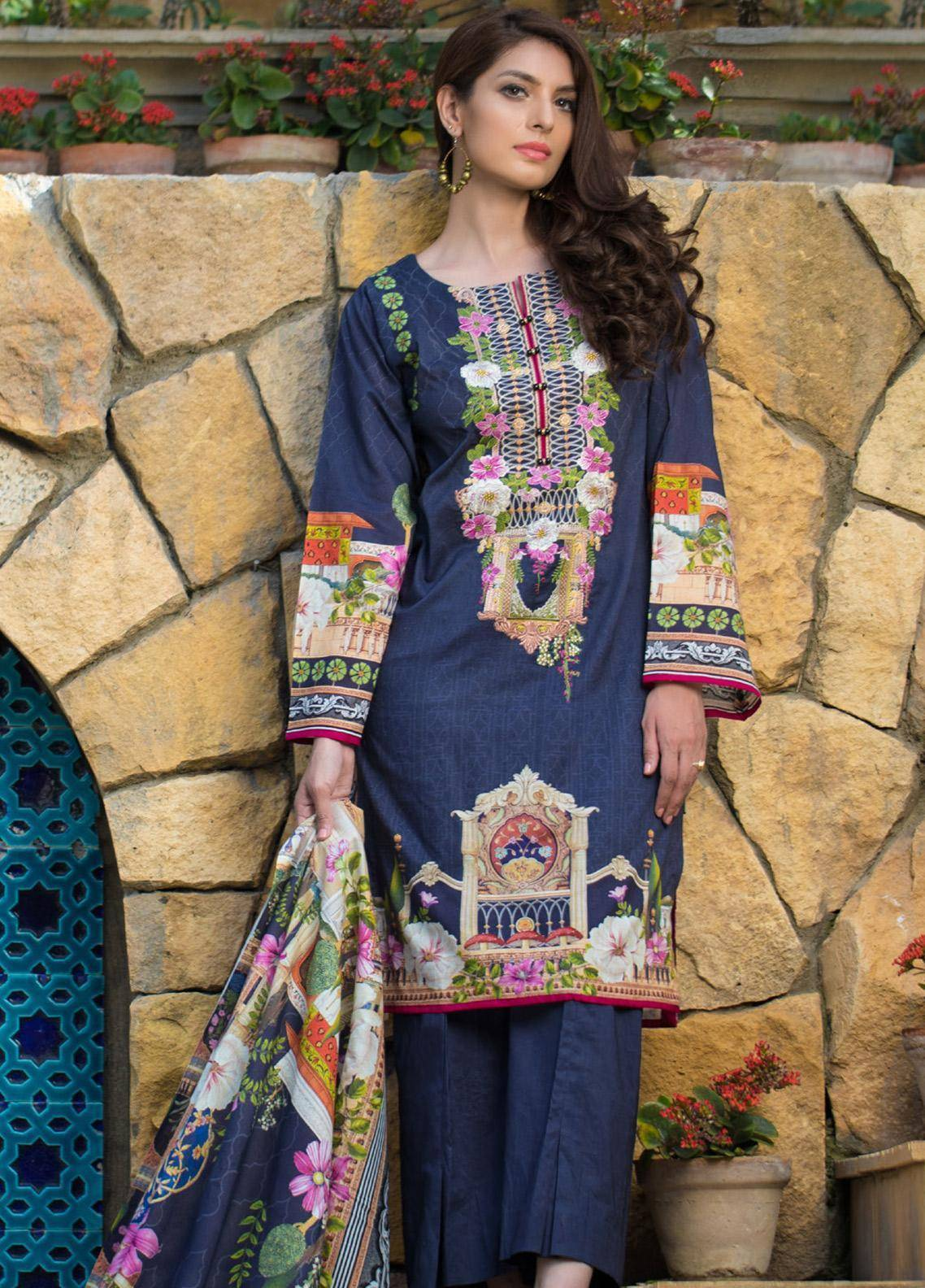 Malhar Embroidered Lawn Unstitched 3 Piece Suit ML19F 3A - Festive Collection