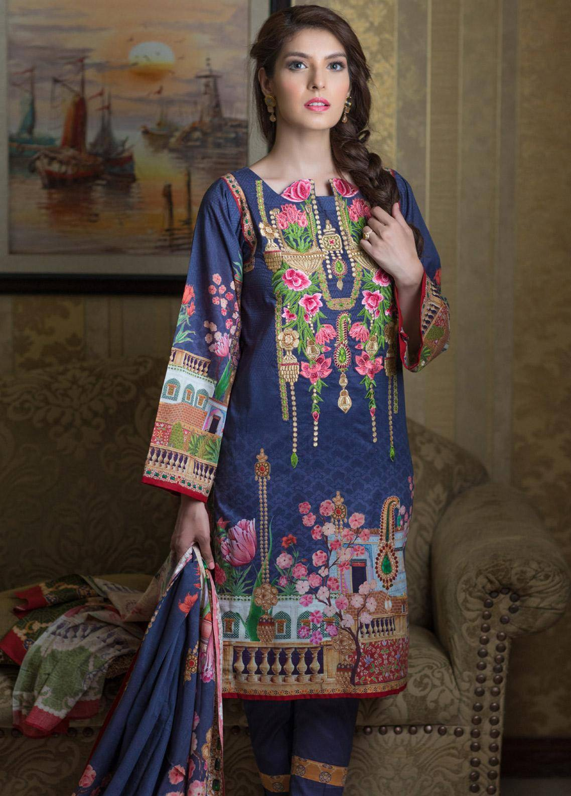 Malhar Embroidered Lawn Unstitched 3 Piece Suit ML19F 4B - Festive Collection