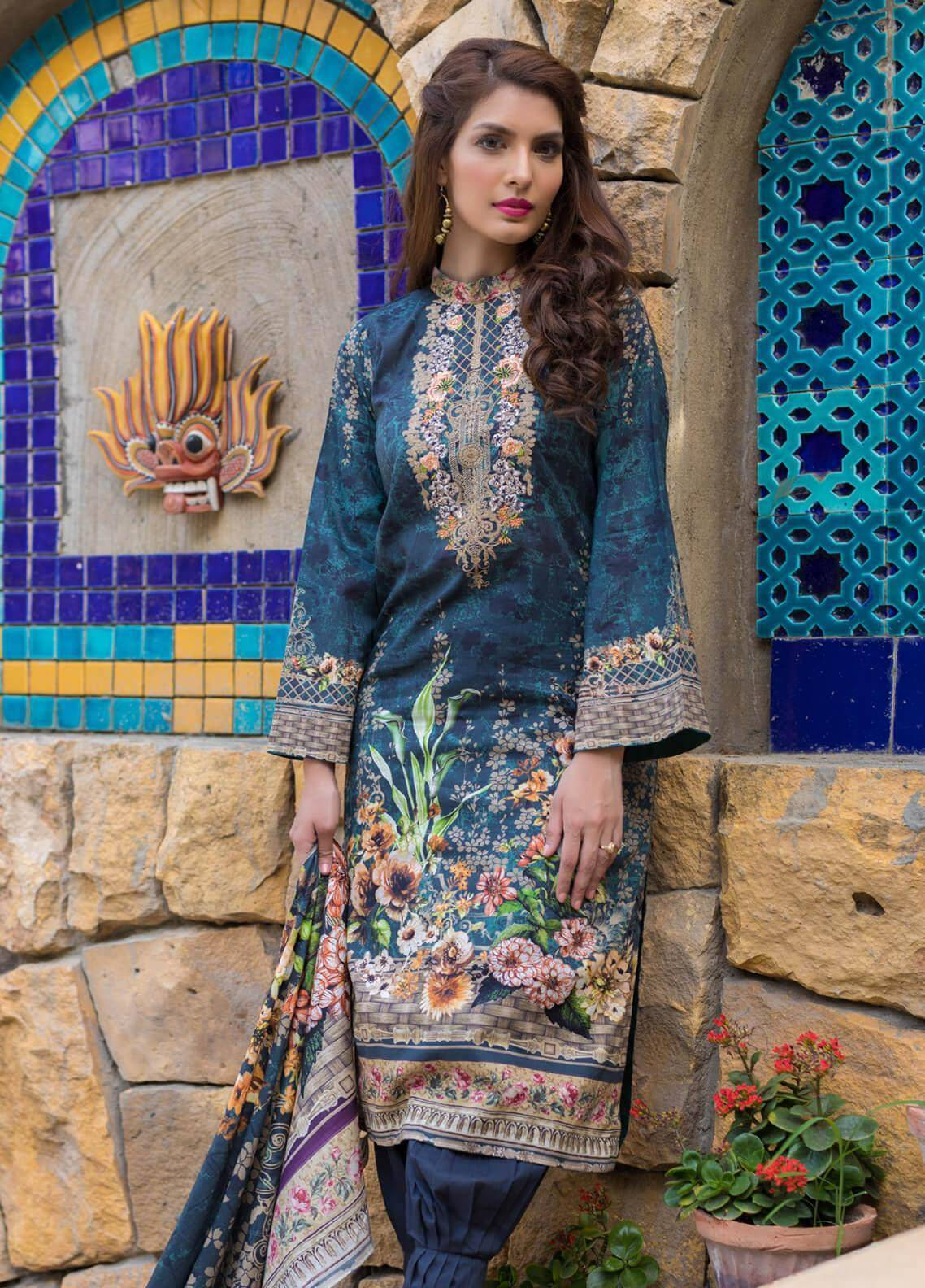 Malhar Embroidered Lawn Unstitched 3 Piece Suit ML19F 5A - Festive Collection