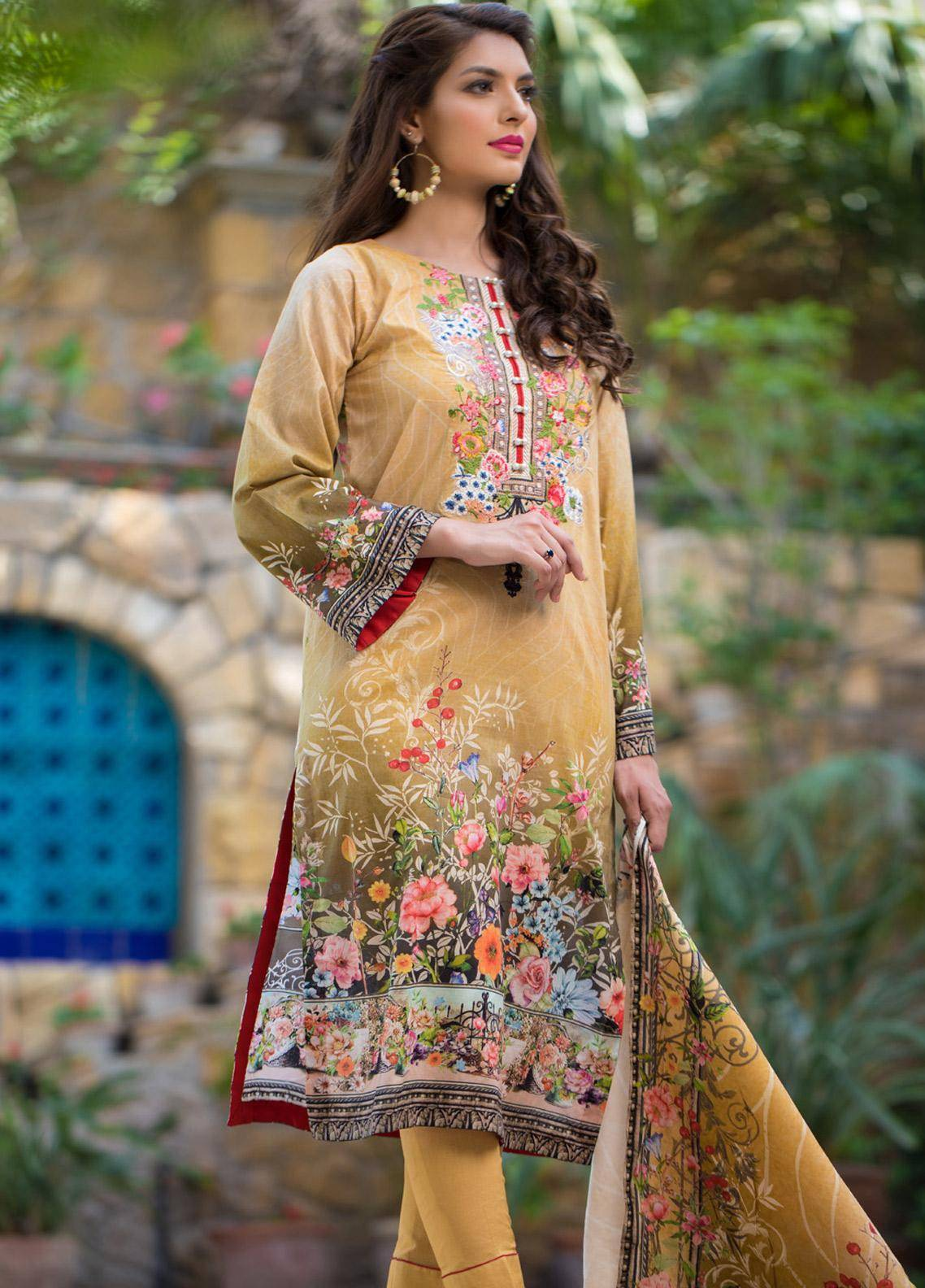 Malhar Embroidered Lawn Unstitched 3 Piece Suit ML19F 7A - Festive Collection