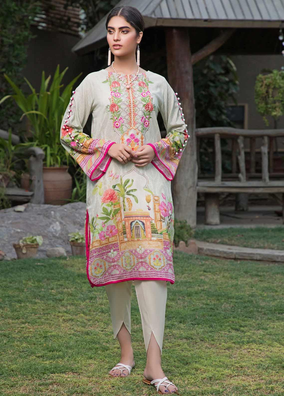 Malhar Florence Embroidered Lawn Unstitched Kurties MLF19K 02 - Mid Summer Collection