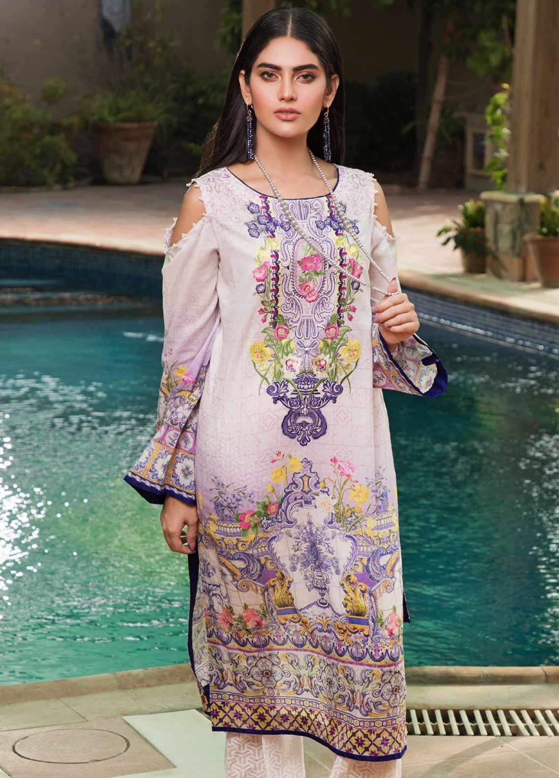 Malhar Florence Embroidered Lawn Unstitched Kurties MLF19K 05 - Mid Summer Collection