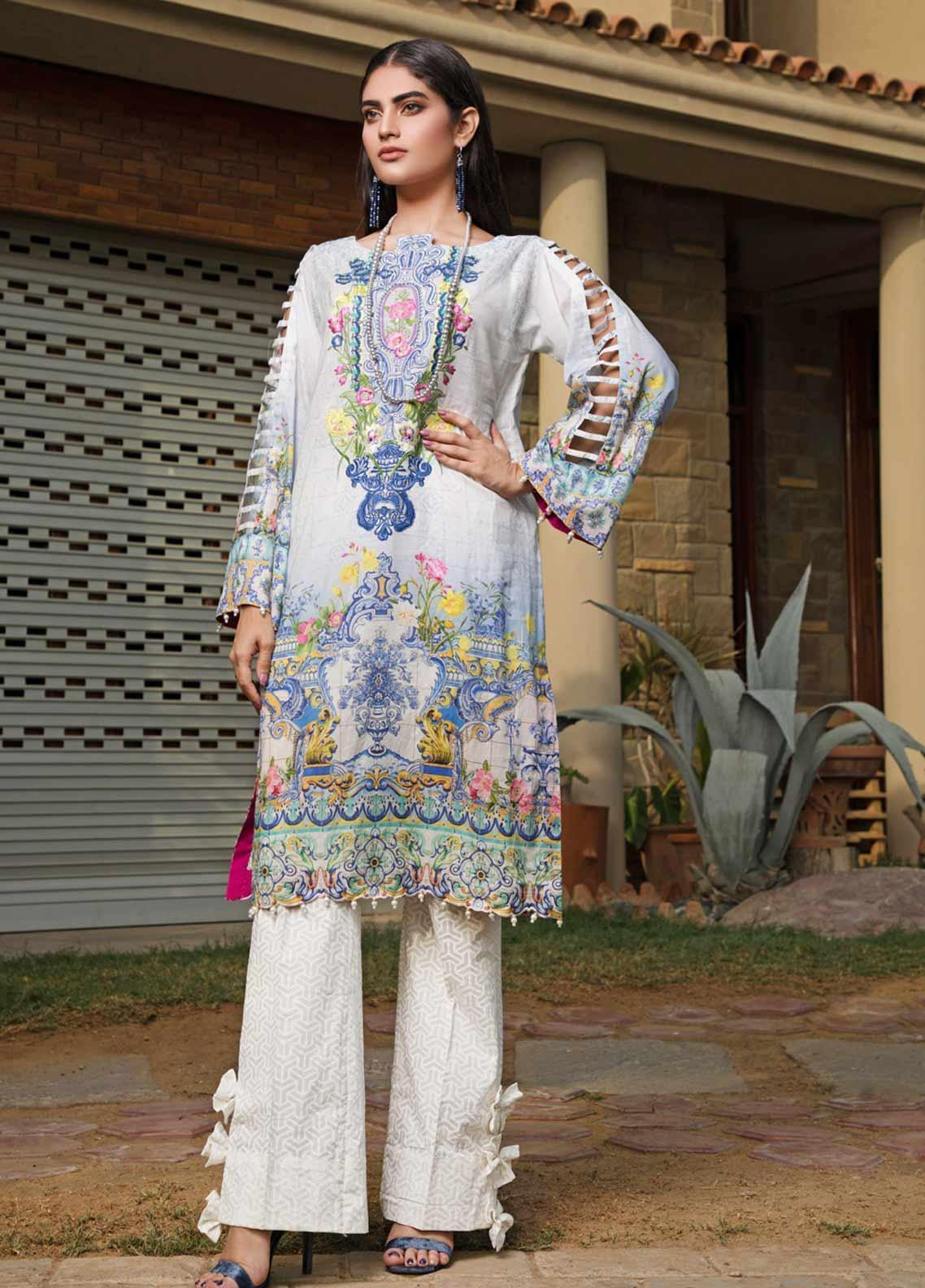 Malhar Florence Embroidered Lawn Unstitched Kurties MLF19K 06 - Mid Summer Collection