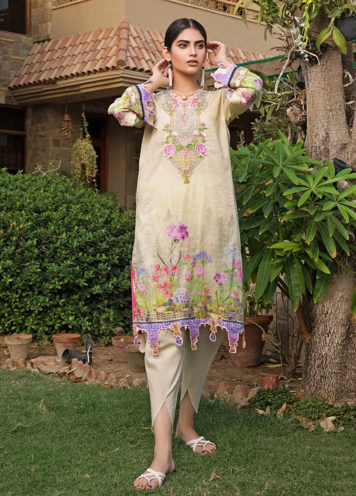 Malhar Florence Embroidered Lawn Unstitched Kurties MLF19K 12 - Mid Summer Collection