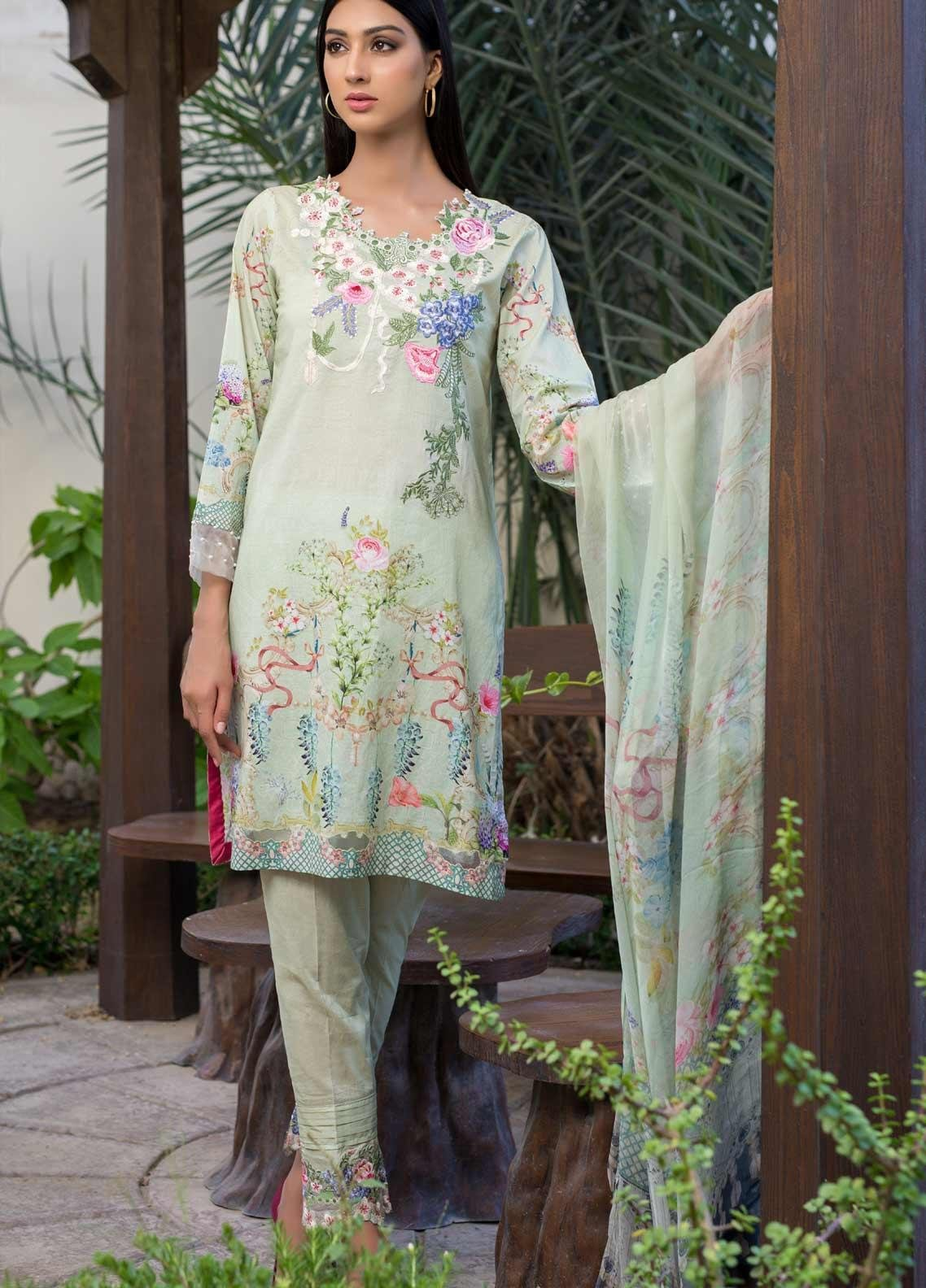 Malhar Embroidered Lawn Unstitched 3 Piece Suit ML19EL 01 - Mid Summer Collection