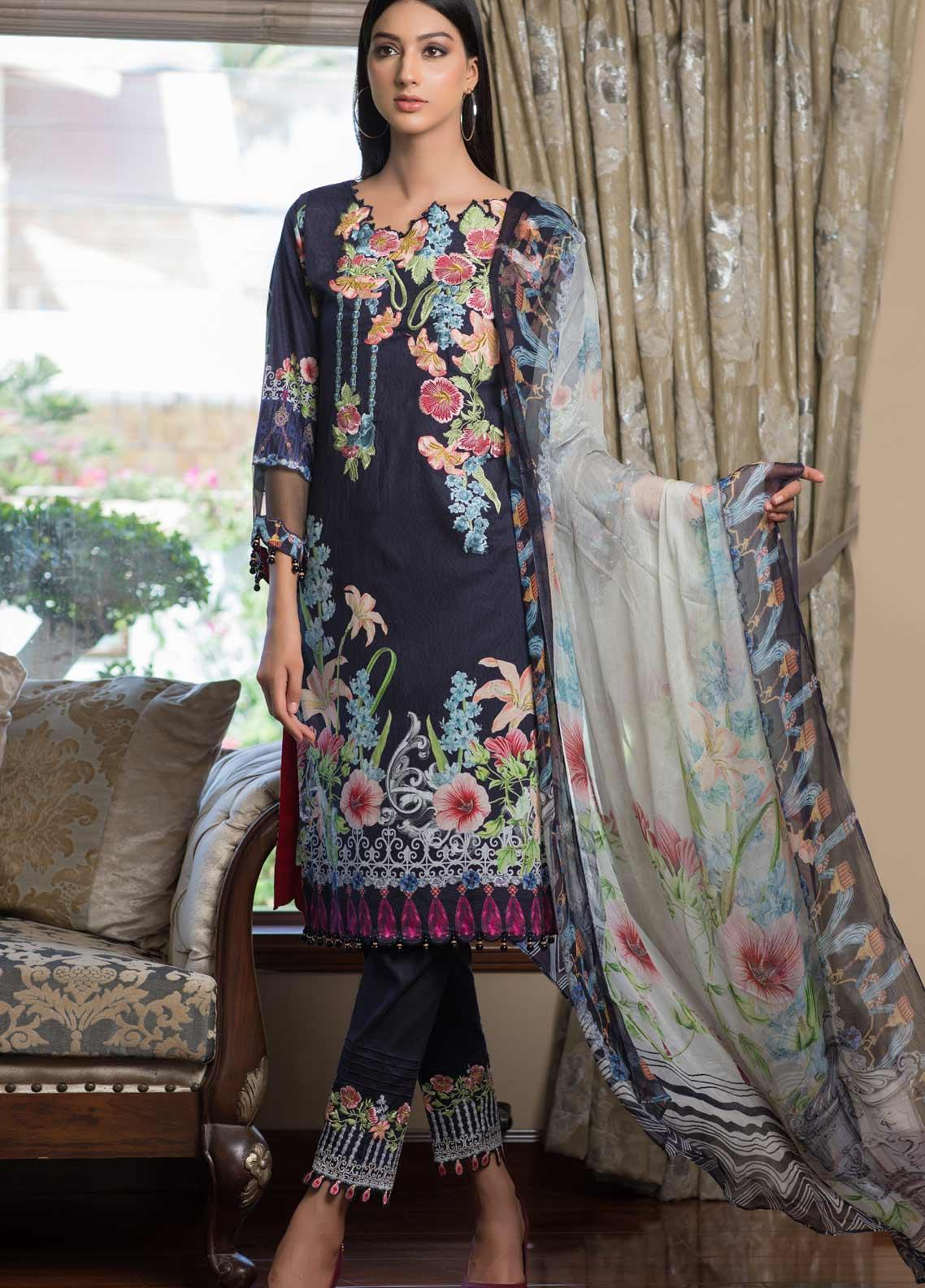 Malhar Embroidered Lawn Unstitched 3 Piece Suit ML19EL 03 - Mid Summer Collection