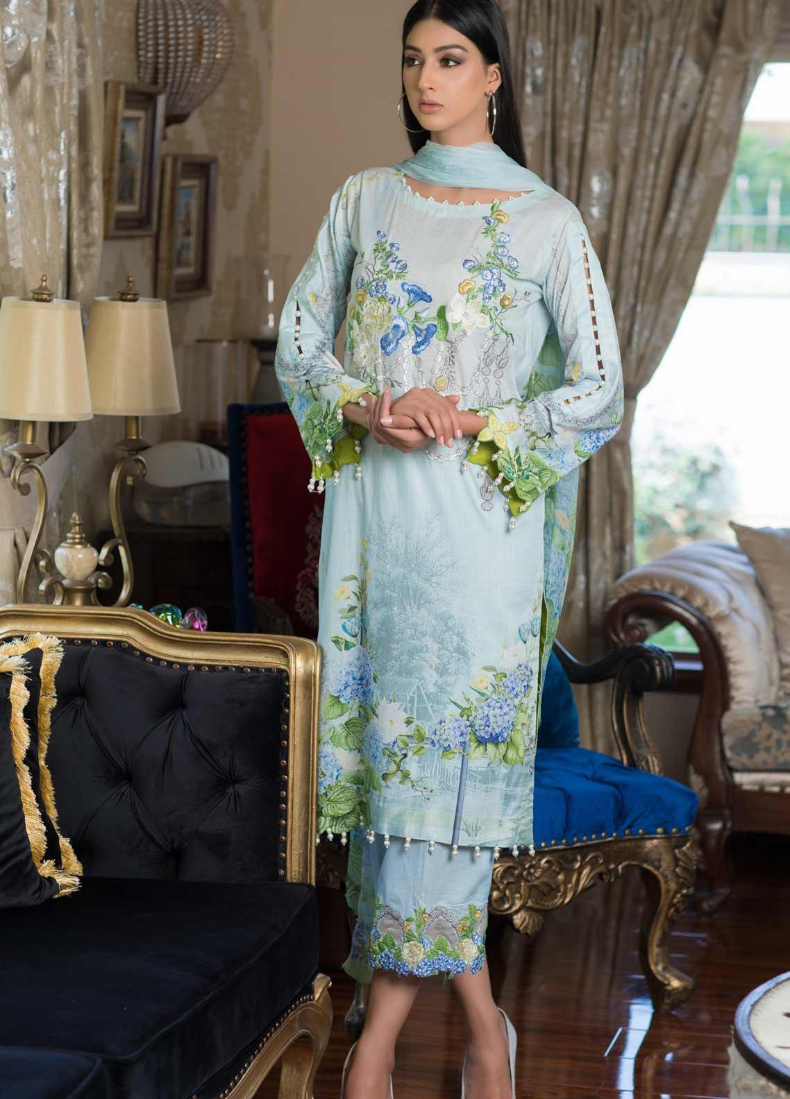 Malhar Embroidered Lawn Unstitched 3 Piece Suit ML19EL 05 - Mid Summer Collection