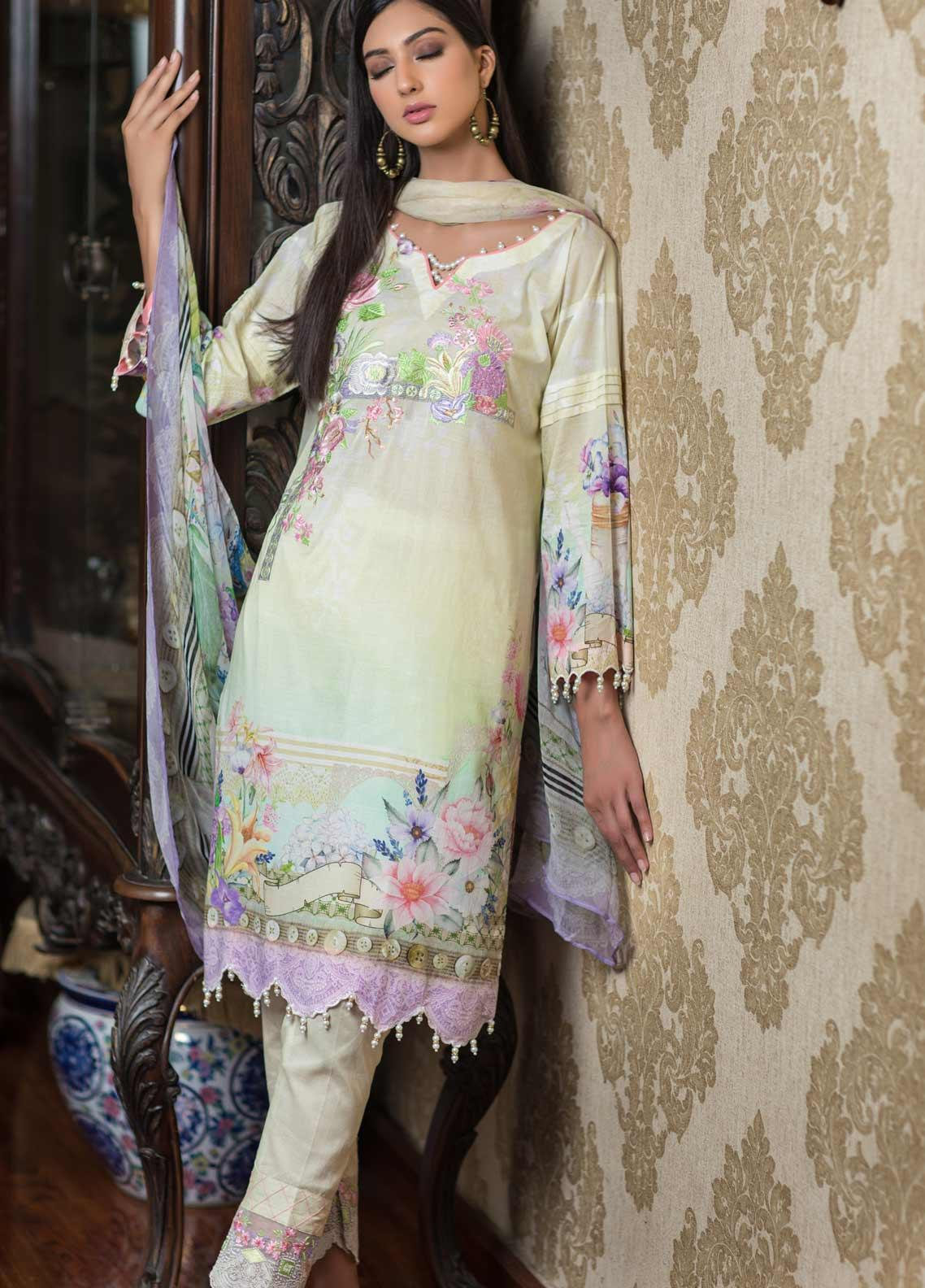 Malhar Embroidered Lawn Unstitched 3 Piece Suit ML19EL 06 - Mid Summer Collection