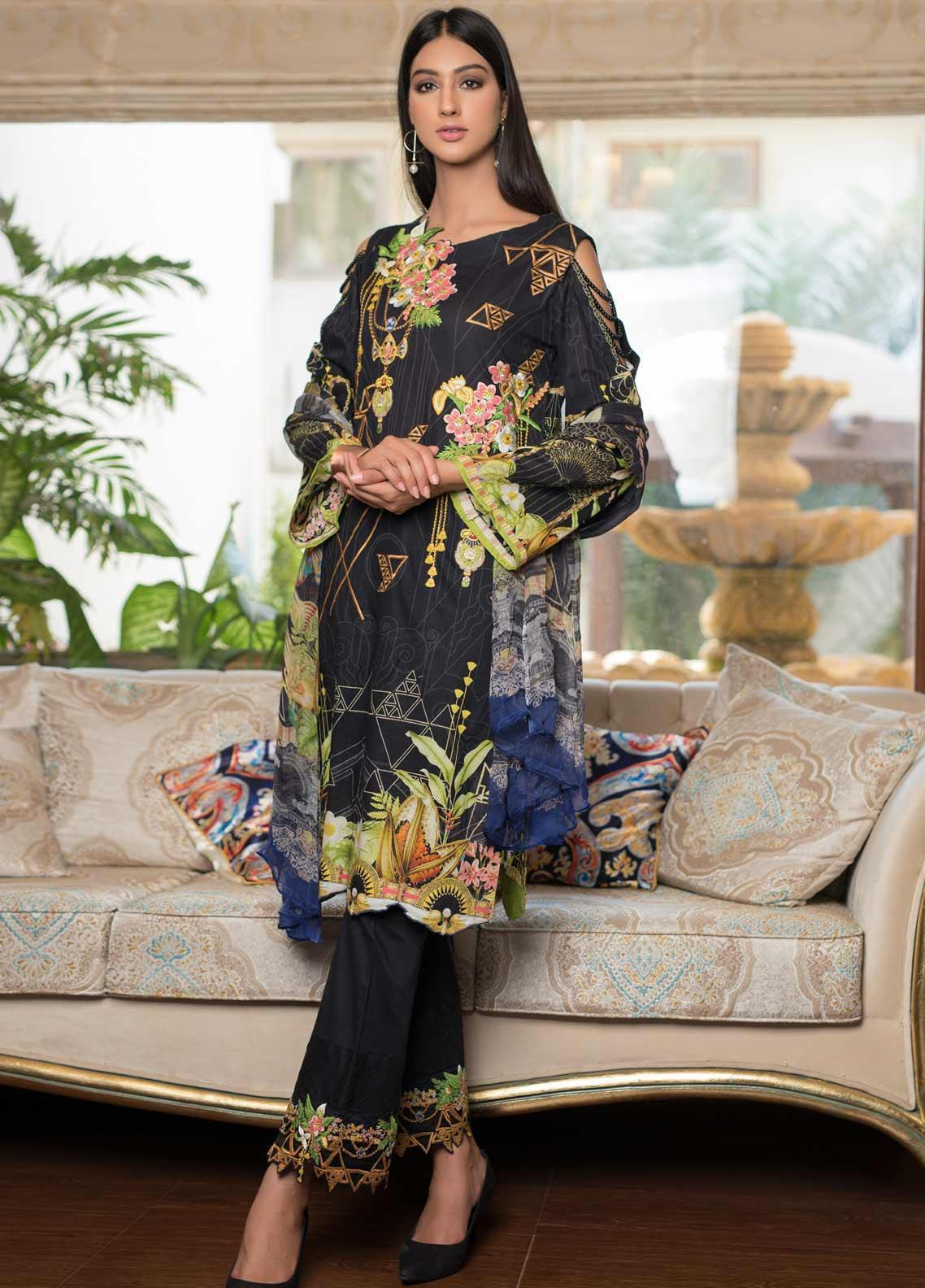 Malhar Embroidered Lawn Unstitched 3 Piece Suit ML19EL 07 - Mid Summer Collection