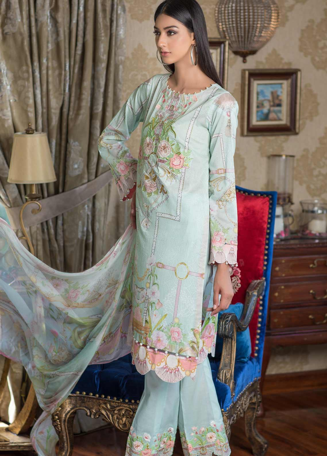 Malhar Embroidered Lawn Unstitched 3 Piece Suit ML19EL 08 - Mid Summer Collection