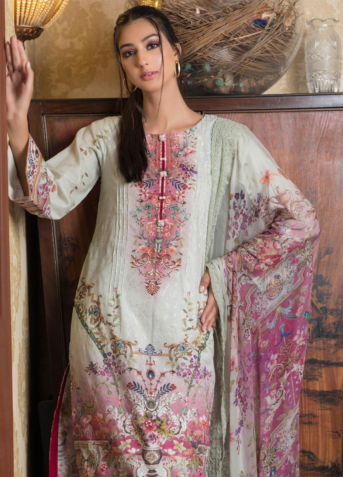Malhar Embroidered Schiffli Unstitched 3 Piece Suit ML19SC 01 - Spring / Summer Collection