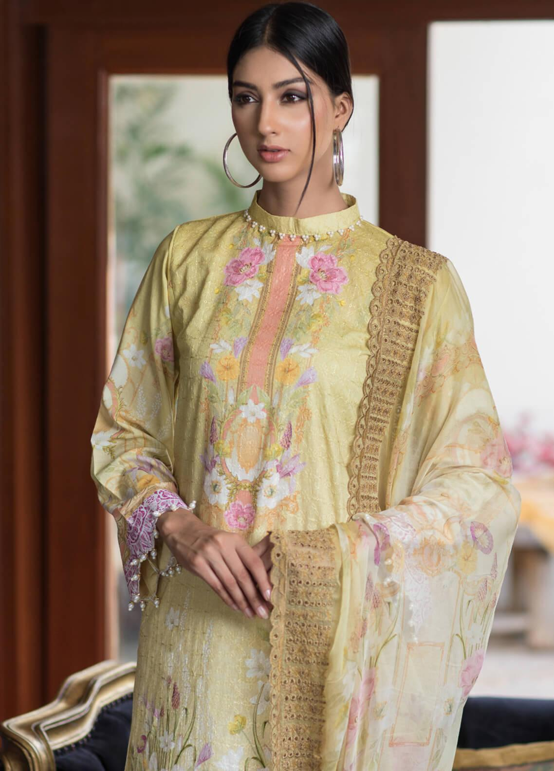 Malhar Embroidered Schiffli Unstitched 3 Piece Suit ML19SC 04 - Spring / Summer Collection