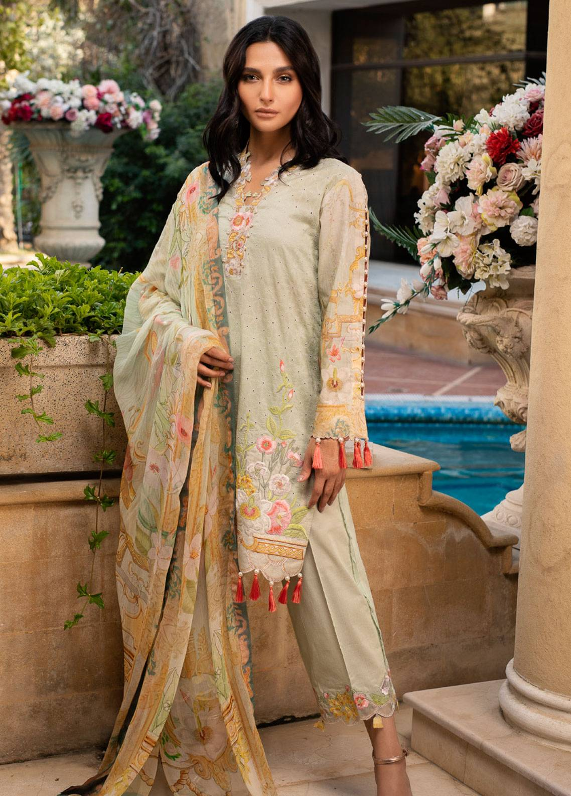 ba7abf62a Malhar Embroidered Lawn Unstitched 3 Piece Suit ML19L 05 DAFFODIL HUE -  Spring / Summer Collection