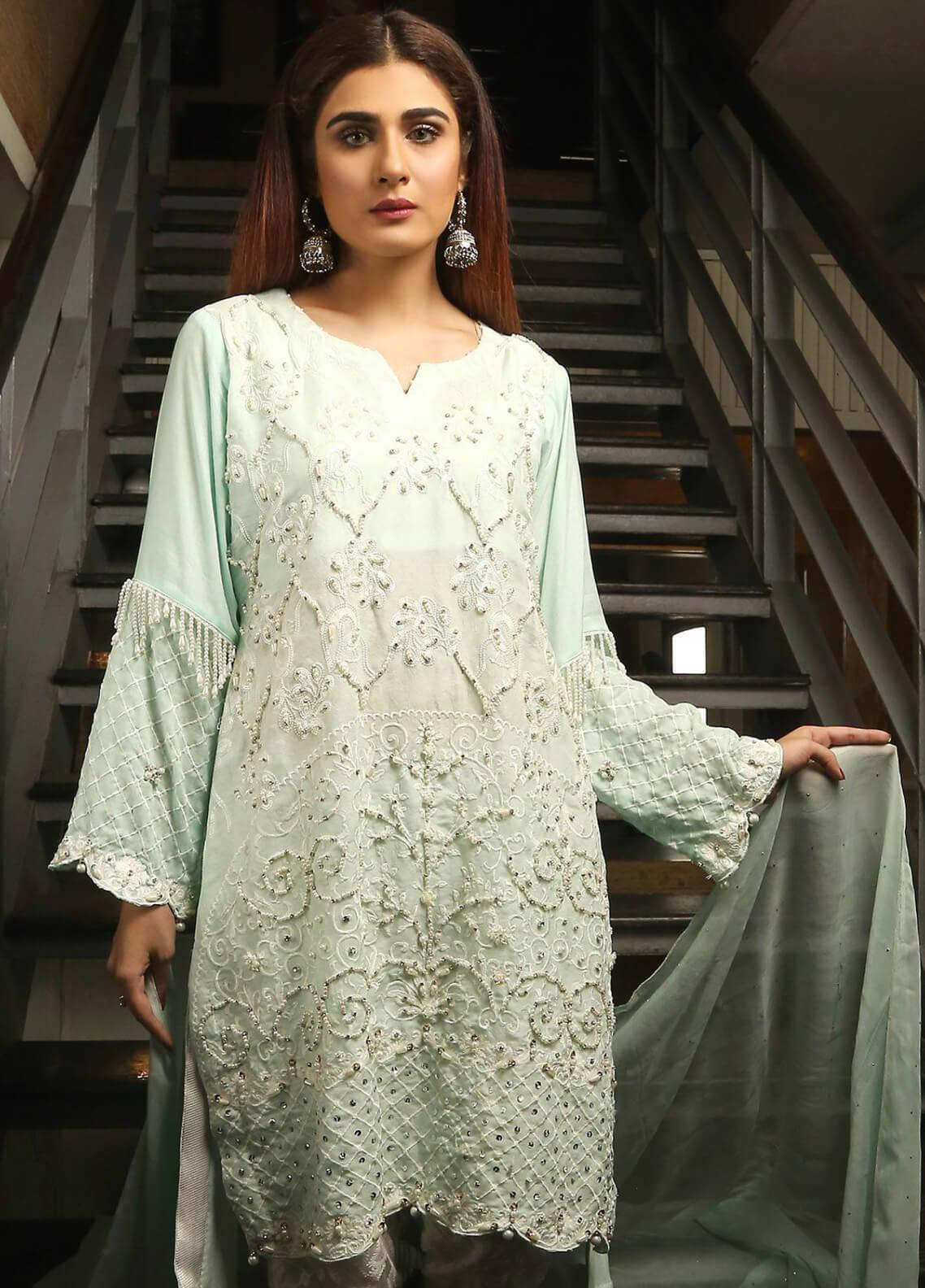 Maliha Kamal Embroidered Chiffon Unstitched 3 Piece Suit MK19C 065 LAKE SNOW - Luxury Collection