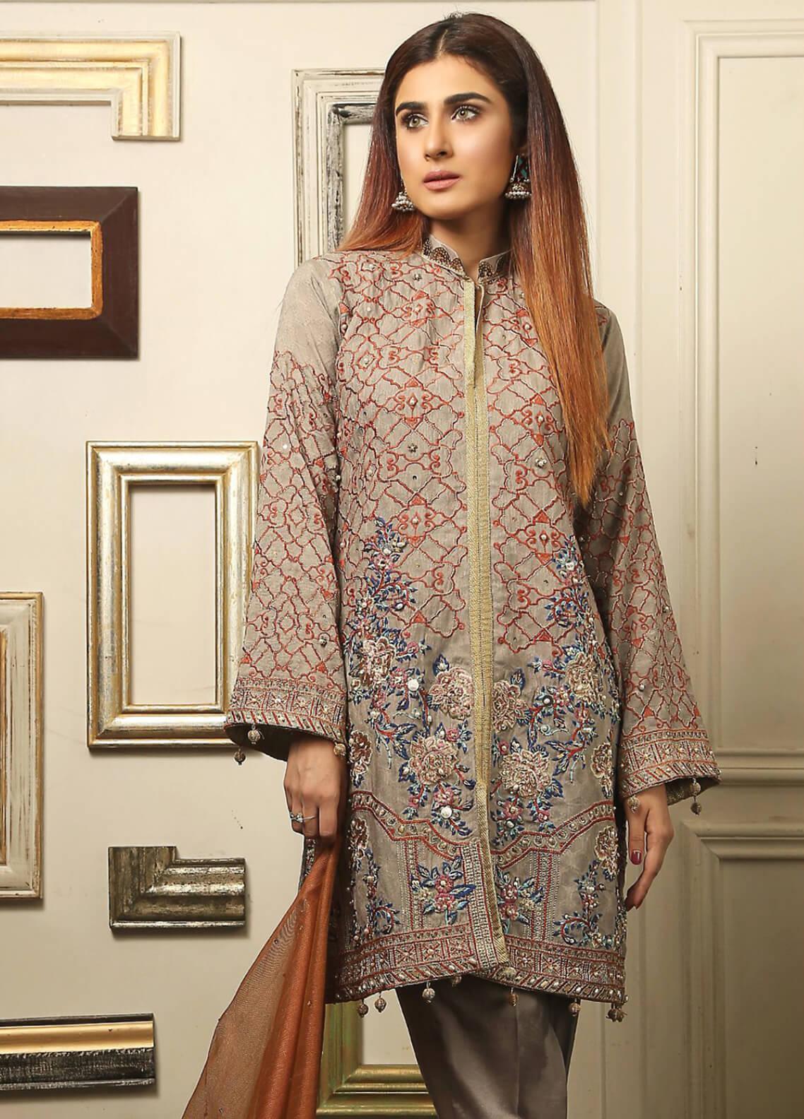 Maliha Kamal Embroidered Chiffon Unstitched 3 Piece Suit MK19C 066 LAVA ASH - Luxury Collection