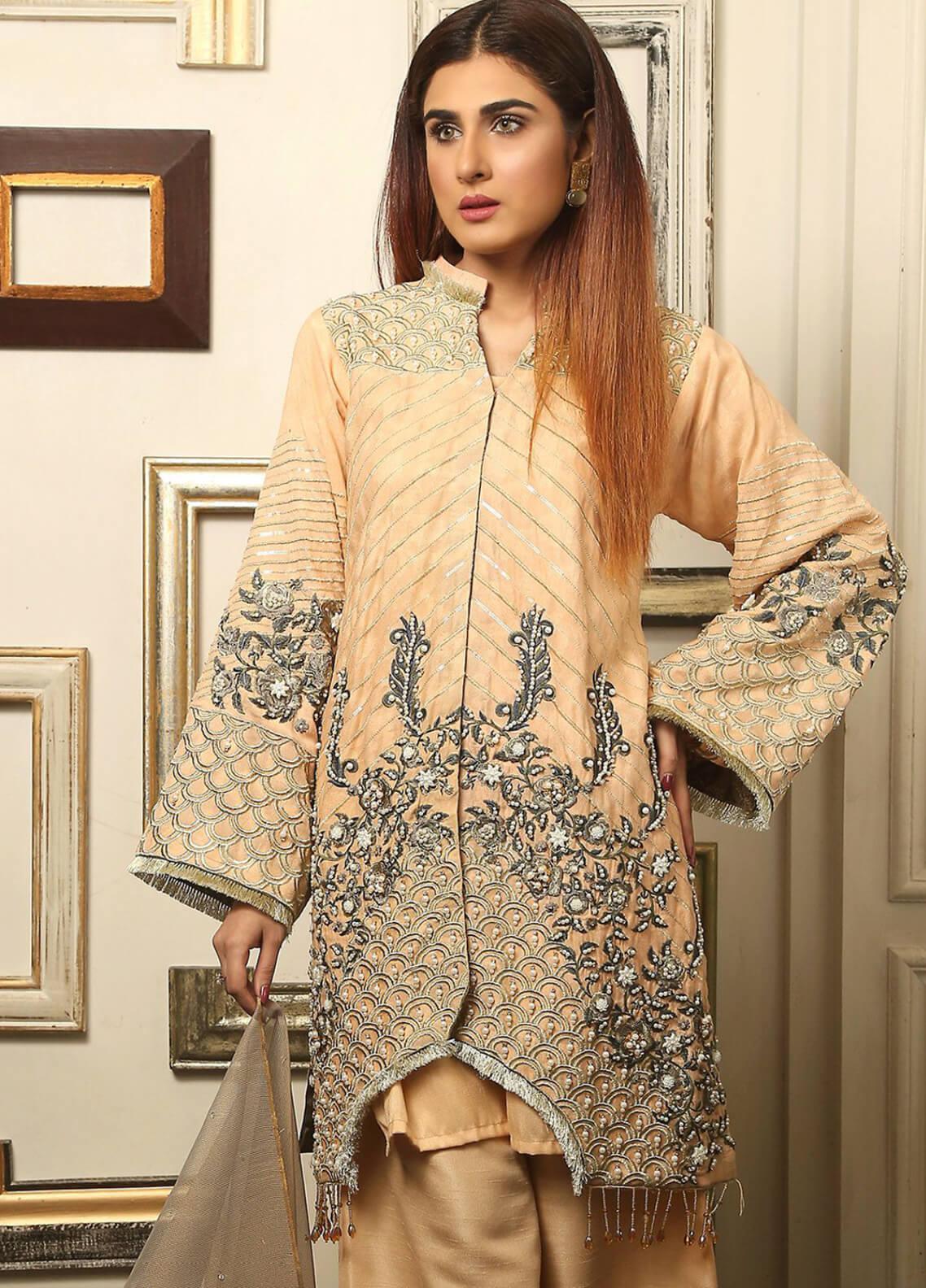 Maliha Kamal Embroidered Chiffon Unstitched 3 Piece Suit MK19C 067 PEACH RUSH - Luxury Collection