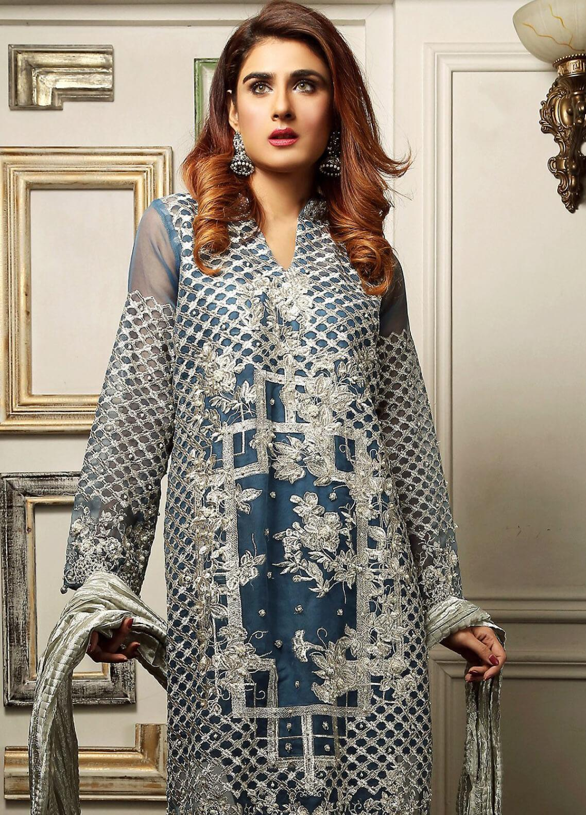 Maliha Kamal Embroidered Chiffon Unstitched 3 Piece Suit MK19C 068 TEAL STEAL - Luxury Collection