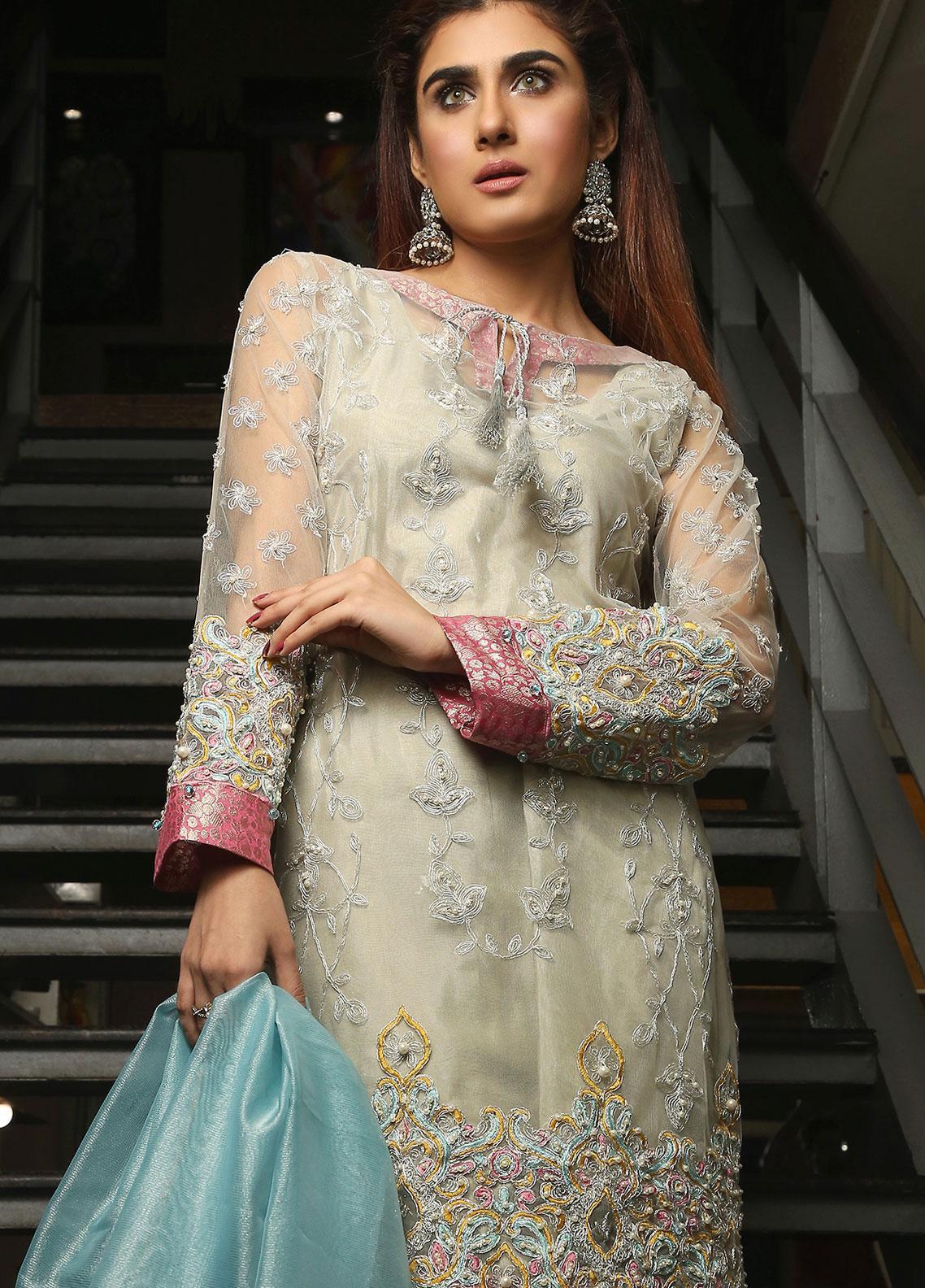 Maliha Kamal Embroidered Chiffon Unstitched 3 Piece Suit MK19C 070 WHEAT GRASS - Luxury Collection