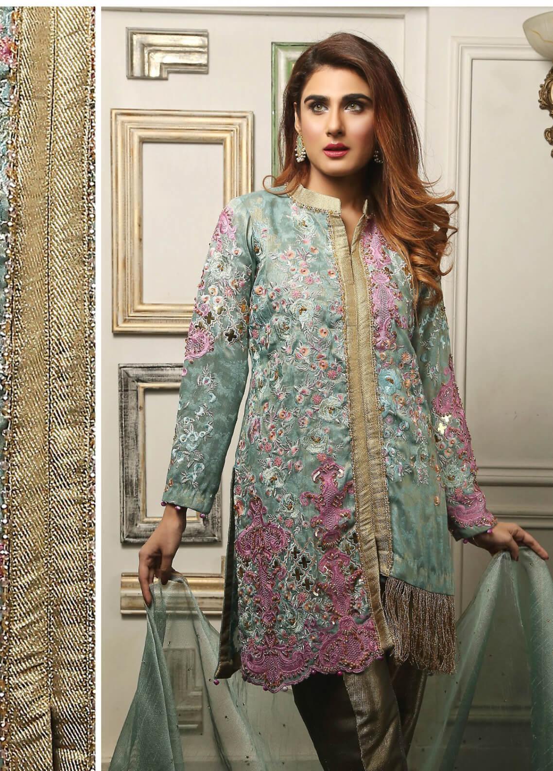 Maliha Kamal Embroidered Chiffon Unstitched 3 Piece Suit MK19C 072 MINT HINT - Luxury Collection