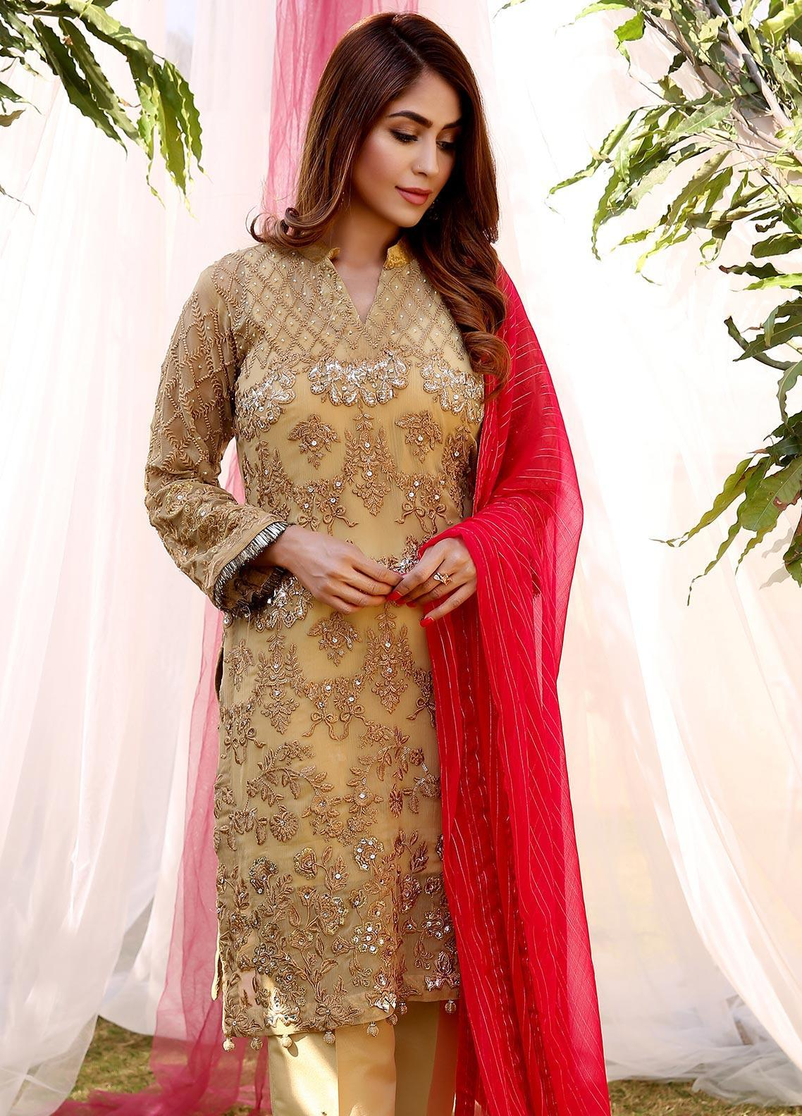 Maliha Kamal Embroidered Chiffon Unstitched 3 Piece Suit MK20C 180 AMBER - Luxury Collection
