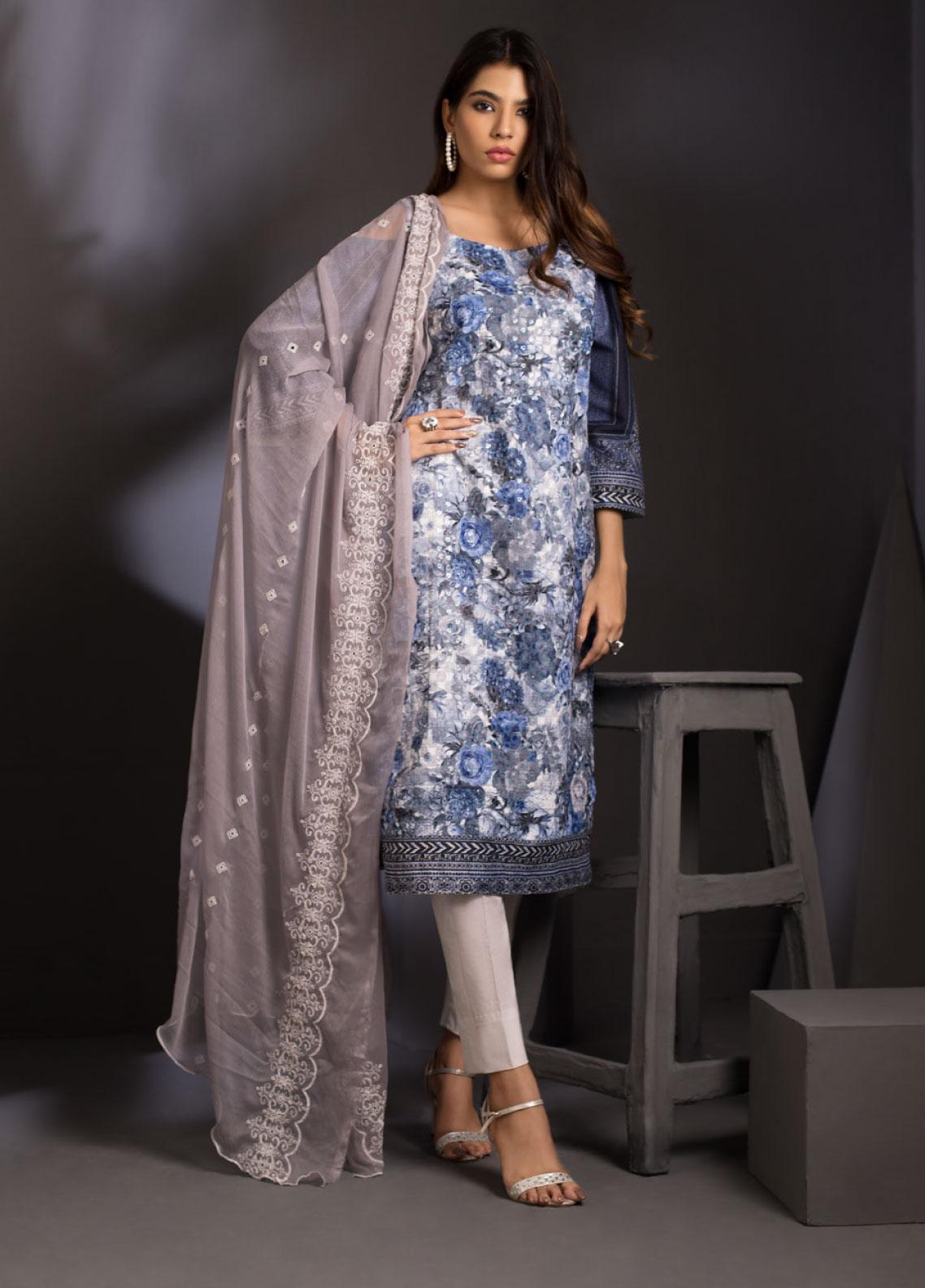 ZS Textile Embroidered Schiffli Unstitched 3 Piece Suit ZS20M  04 - Luxury Collection