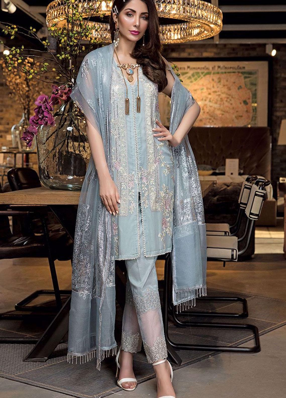 Manara Embroidered Chiffon Unstitched 3 Piece Suit MNA19C 007 LOLITA - Eid Collection