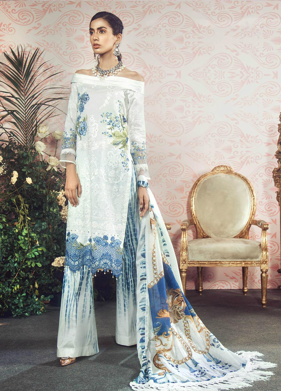 Manara Embroidered Lawn Unstitched 3 Piece Suit MNA19F 03 AMALFI - Festive Collection