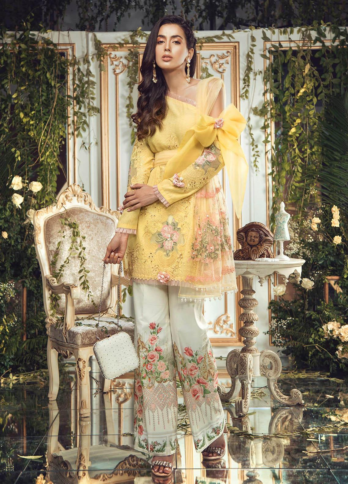 Manara Embroidered Lawn Unstitched 3 Piece Suit MNA19F 02 NEUM - Festive Collection