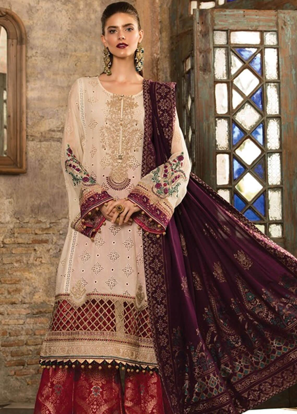 Maria B Embroidered Schiffli Unstitched 3 Piece Suit MBE19L 602 - Eid Collection