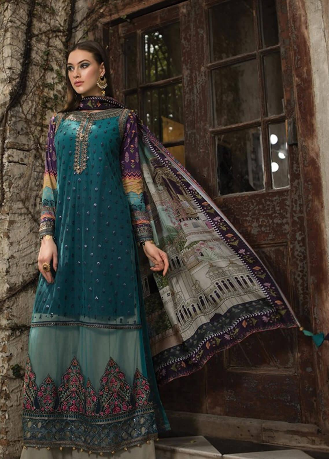 8a84dbebc7 Maria B Embroidered Zari Net Unstitched 3 Piece Suit MBE19L 603 - Eid  Collection