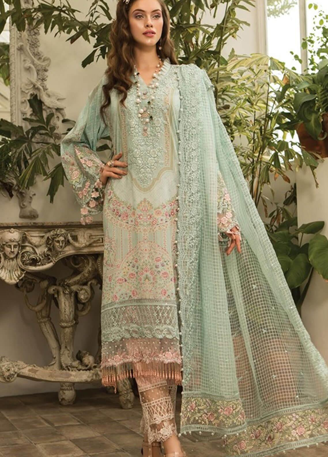 2de439c6b0 Maria B Embroidered Lawn Unstitched 3 Piece Suit MBE19L 604 - Eid Collection