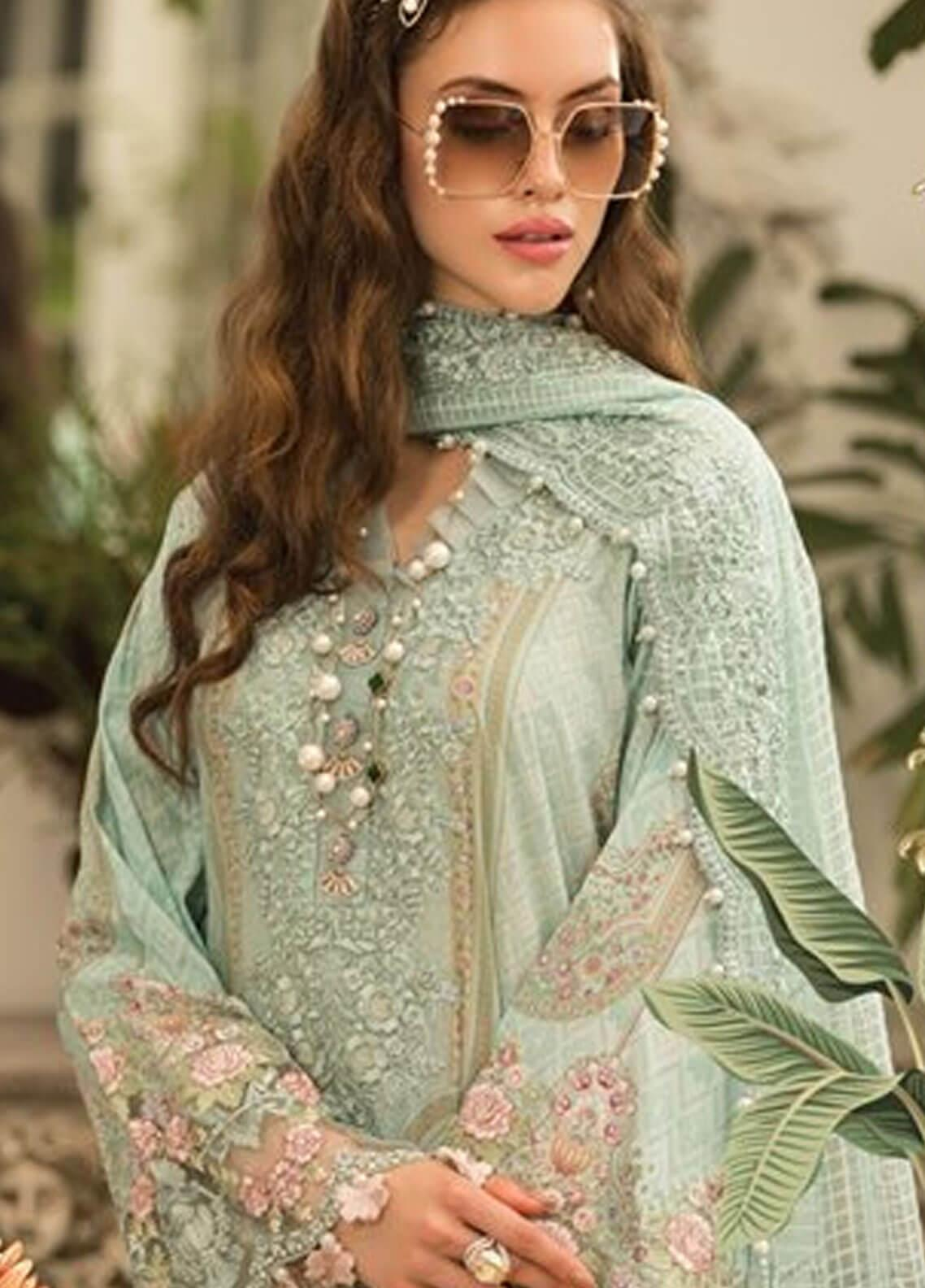 44aba77e31 Maria B Embroidered Lawn Unstitched 3 Piece Suit MBE19L 604 - Eid Collection