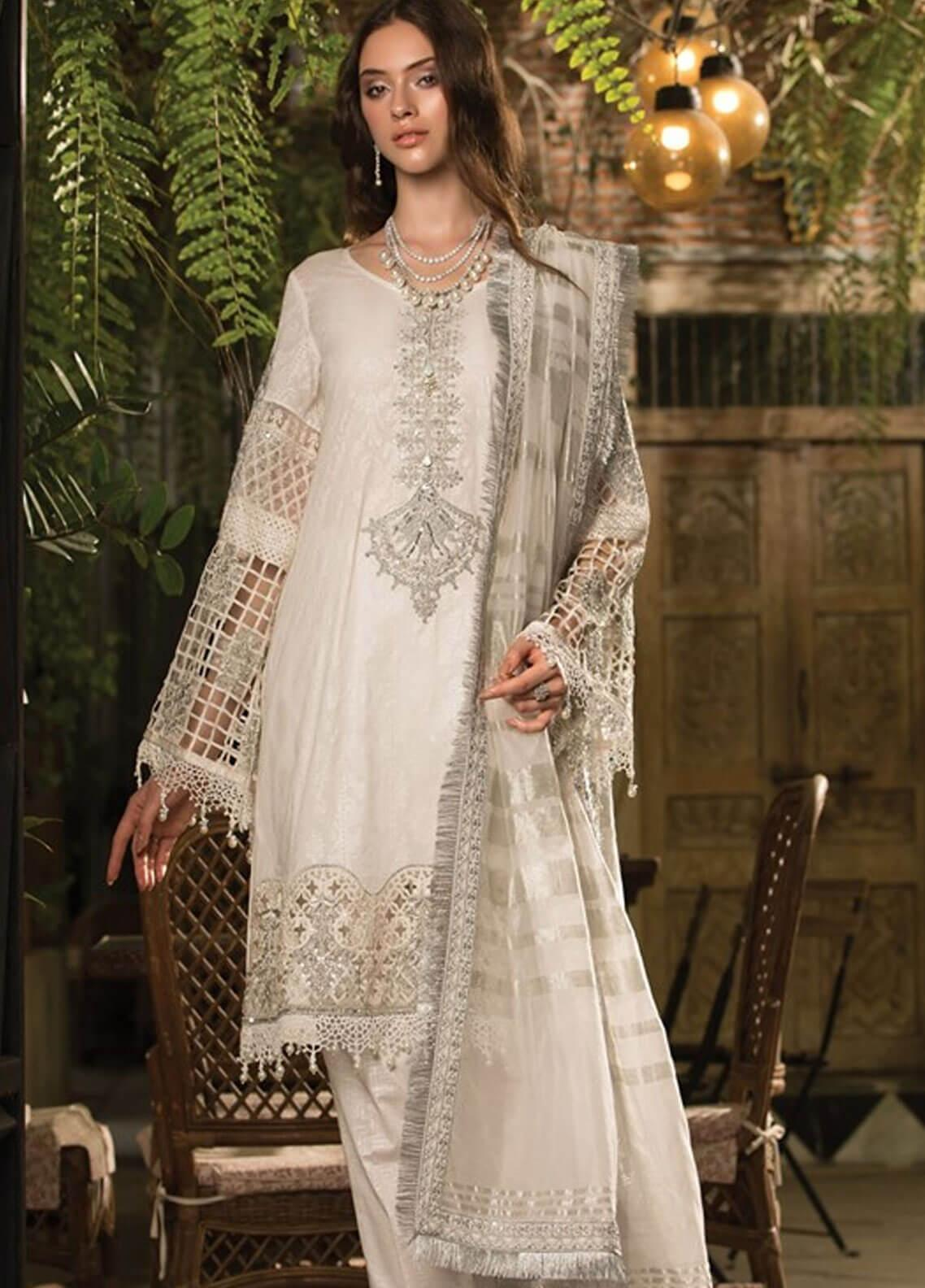 0369216b3d Maria B Embroidered Lawn Unstitched 3 Piece Suit MBE19L 607 - Eid Collection