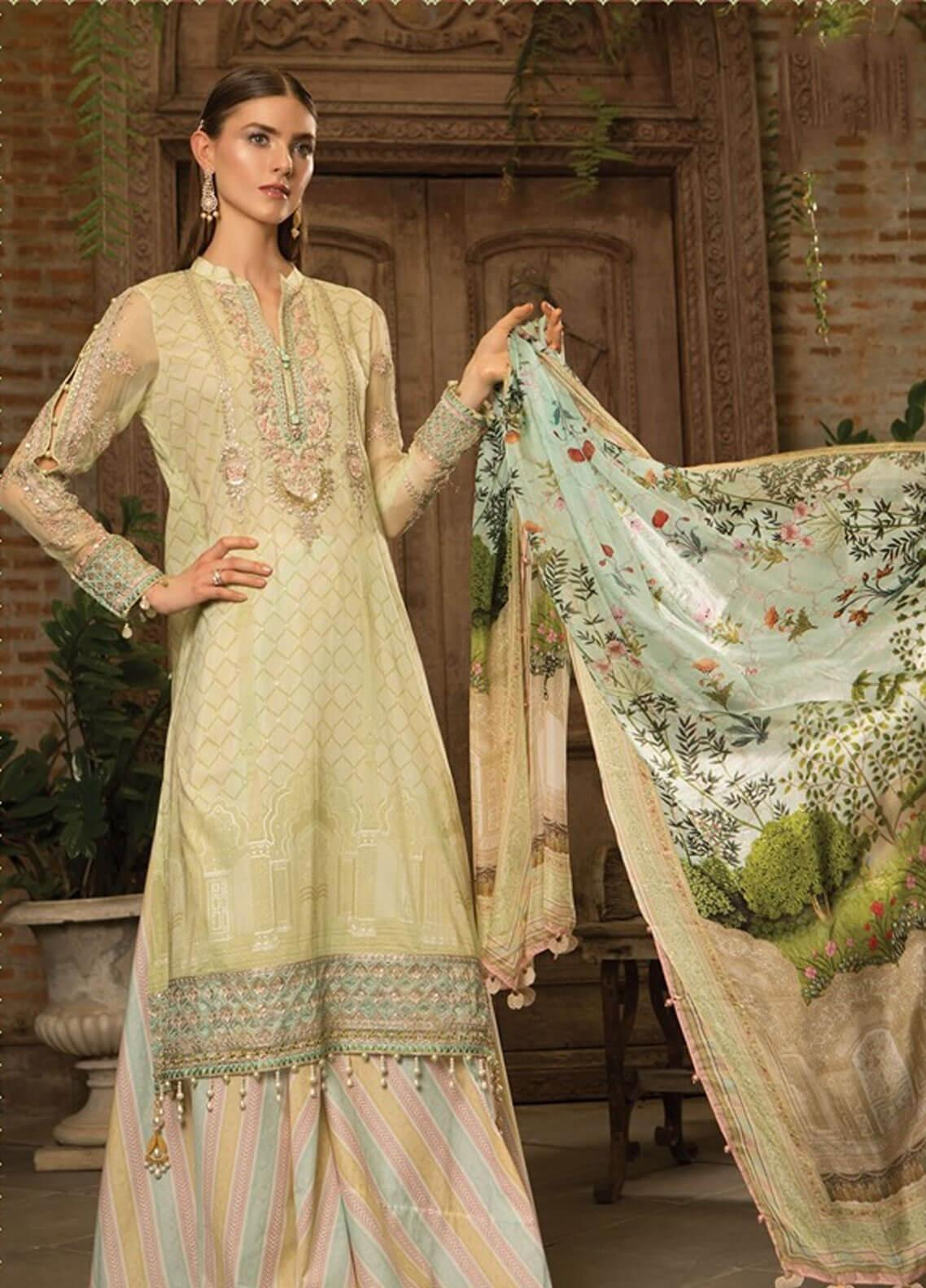 4fa9063e9e Maria B Embroidered Lawn Unstitched 3 Piece Suit MBE19L 608 - Eid Collection